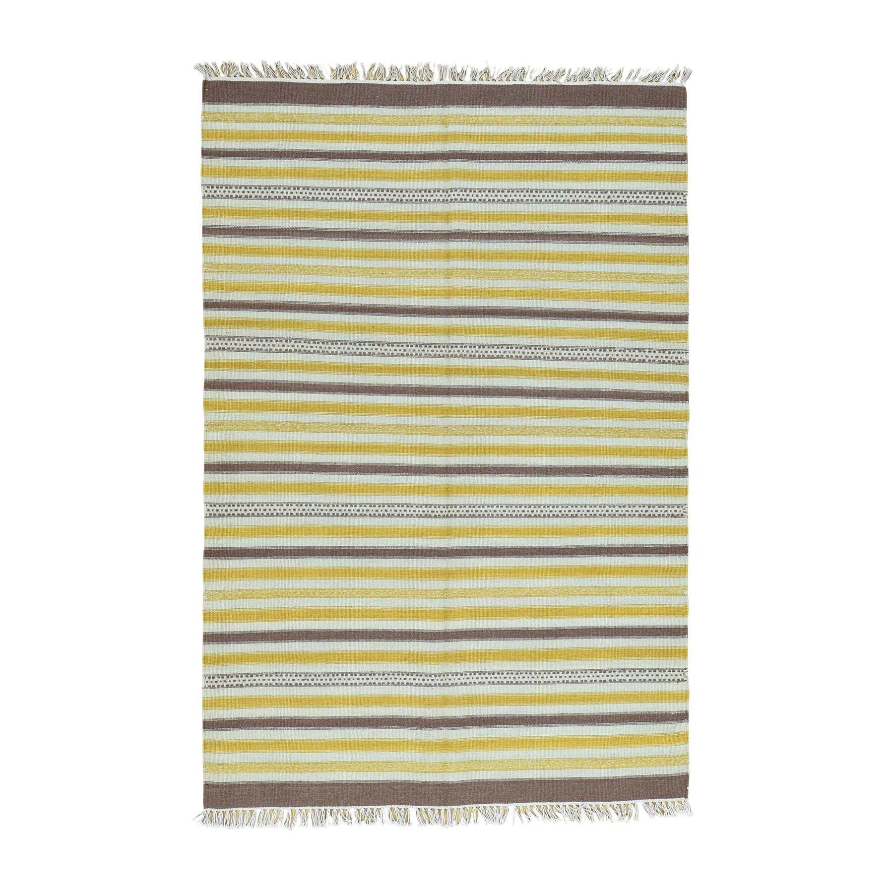 "4'9""X7' 100 Percent Wool Hand-Woven Striped Kilim Flat Weave Carpet moaca9a8"