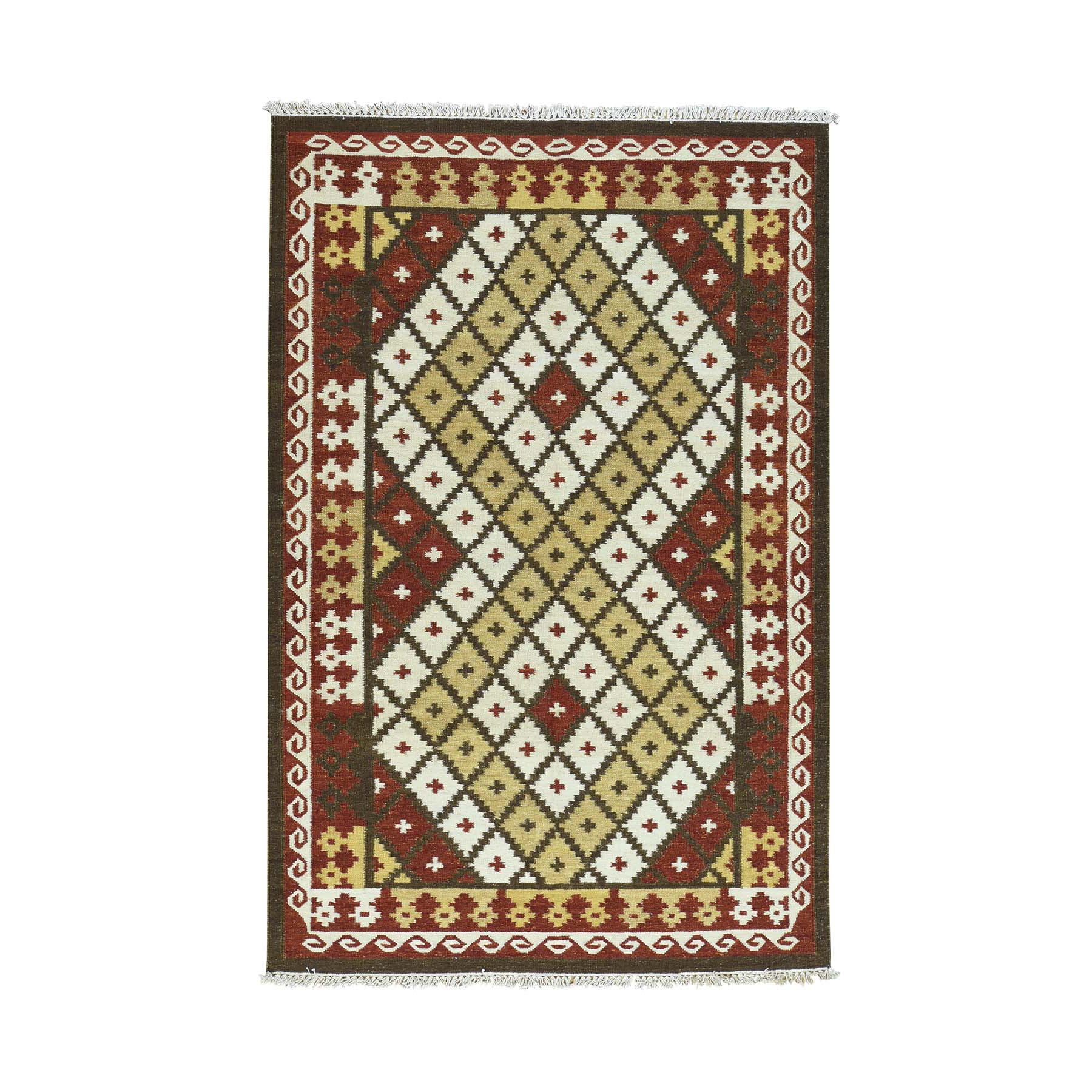 "5'3""X8' 100 Percent Wool Hand-Woven Anatolian Kilim Flat Weave Rug moaca9cb"