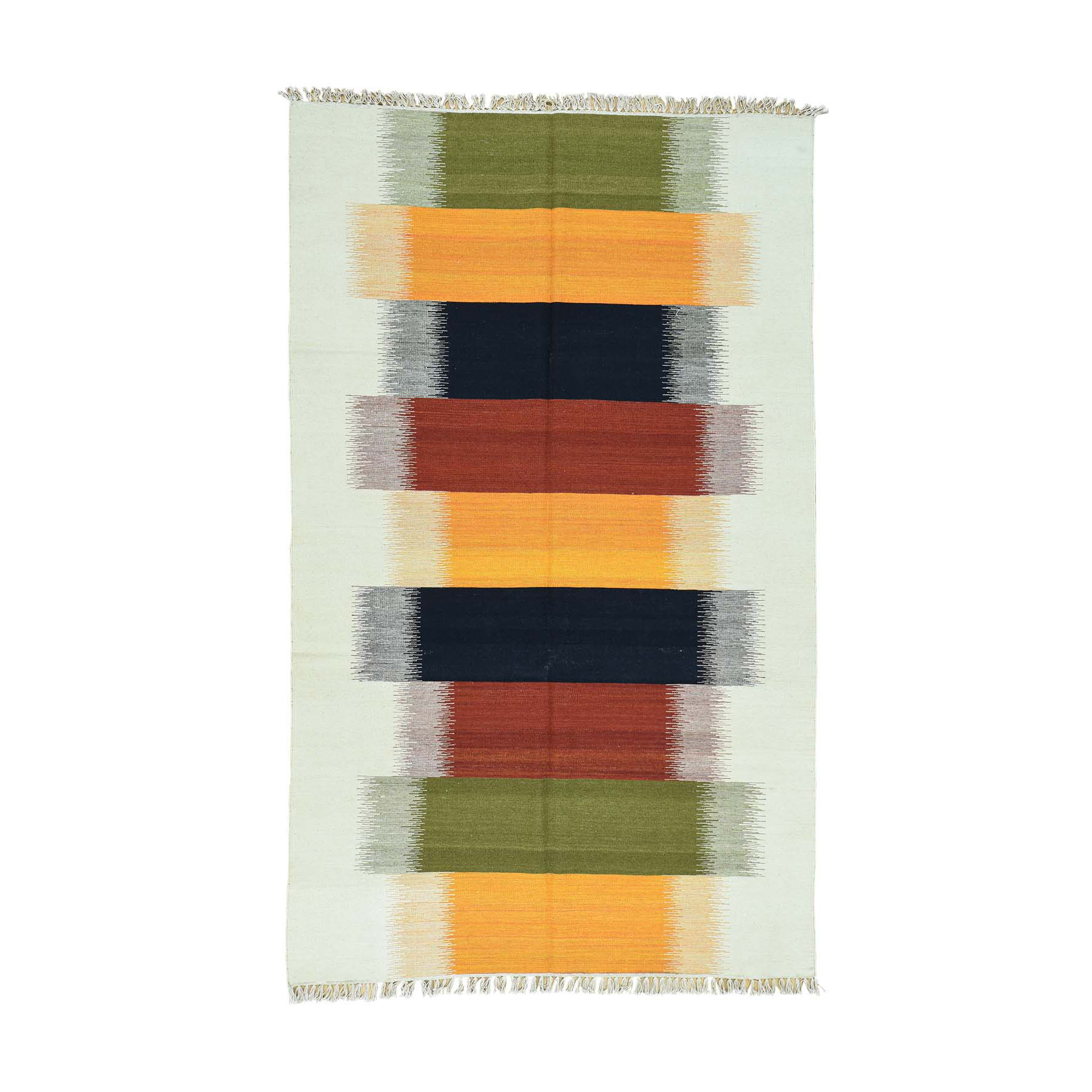 "5'1""X8'4"" Hand-Woven Multicolored Kilim 100 Percent Wool Flat Weave Rug moaca9c9"
