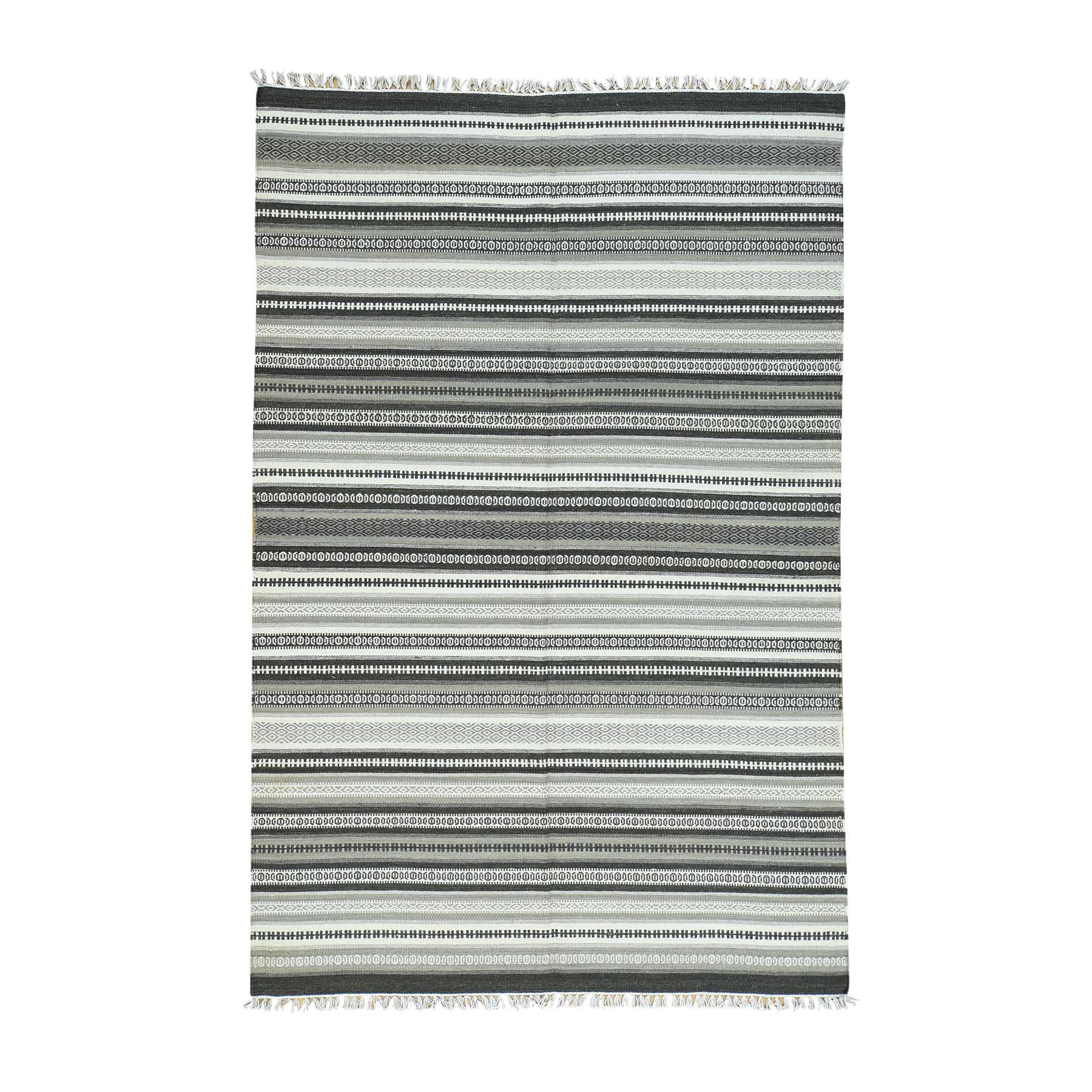 "5'9""X9' Hand-Woven Flat Weave Striped Durie Kilim Pure Wool Carpet moaca9da"