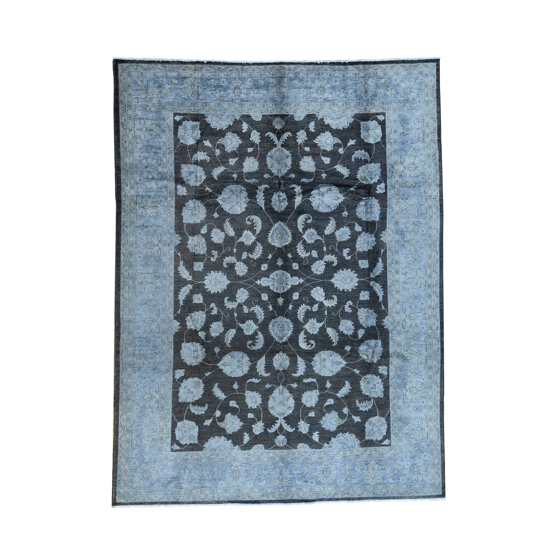 9'X12' Hand-Knotted Black Overdyed Peshawar Pure Wool Oriental Rug moaca96e