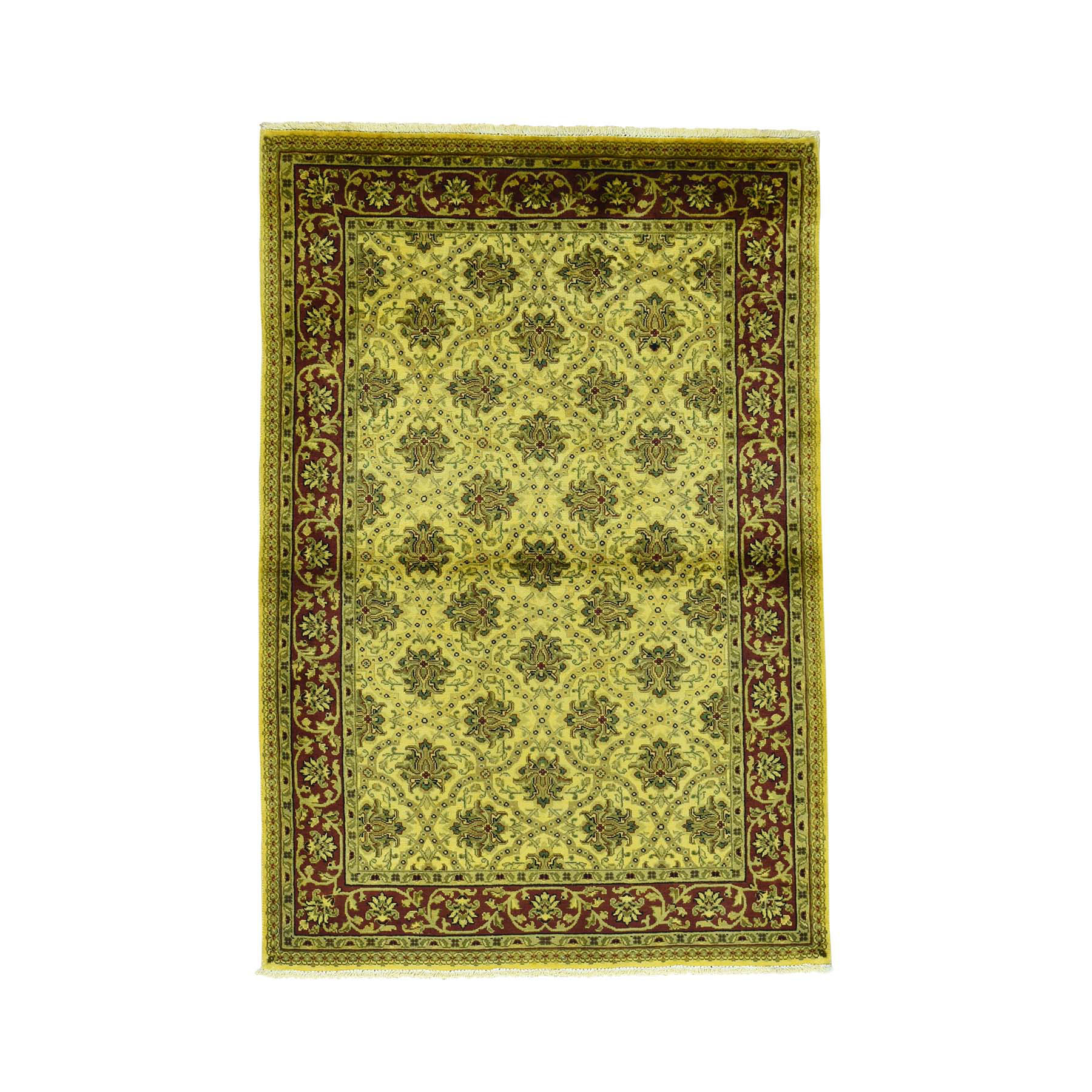 "4'X5'10"" Handmade Pure Wool Overdyed Persian Herati Vintage Oriental Rug moaca980"