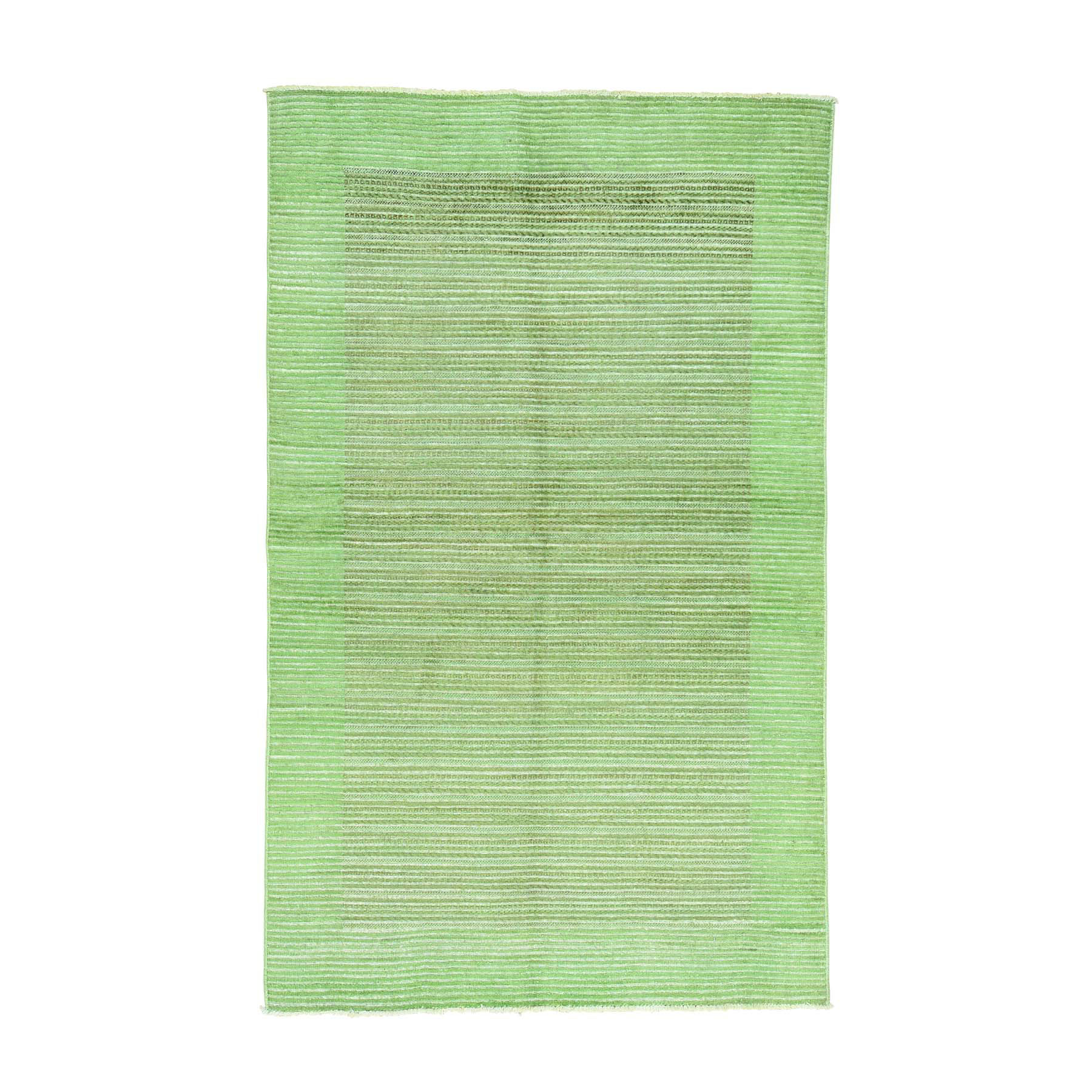 5'X8' Hand-Knotted 100 Percent Wool Gabbeh Overdyed Light Green Carpet moaca986