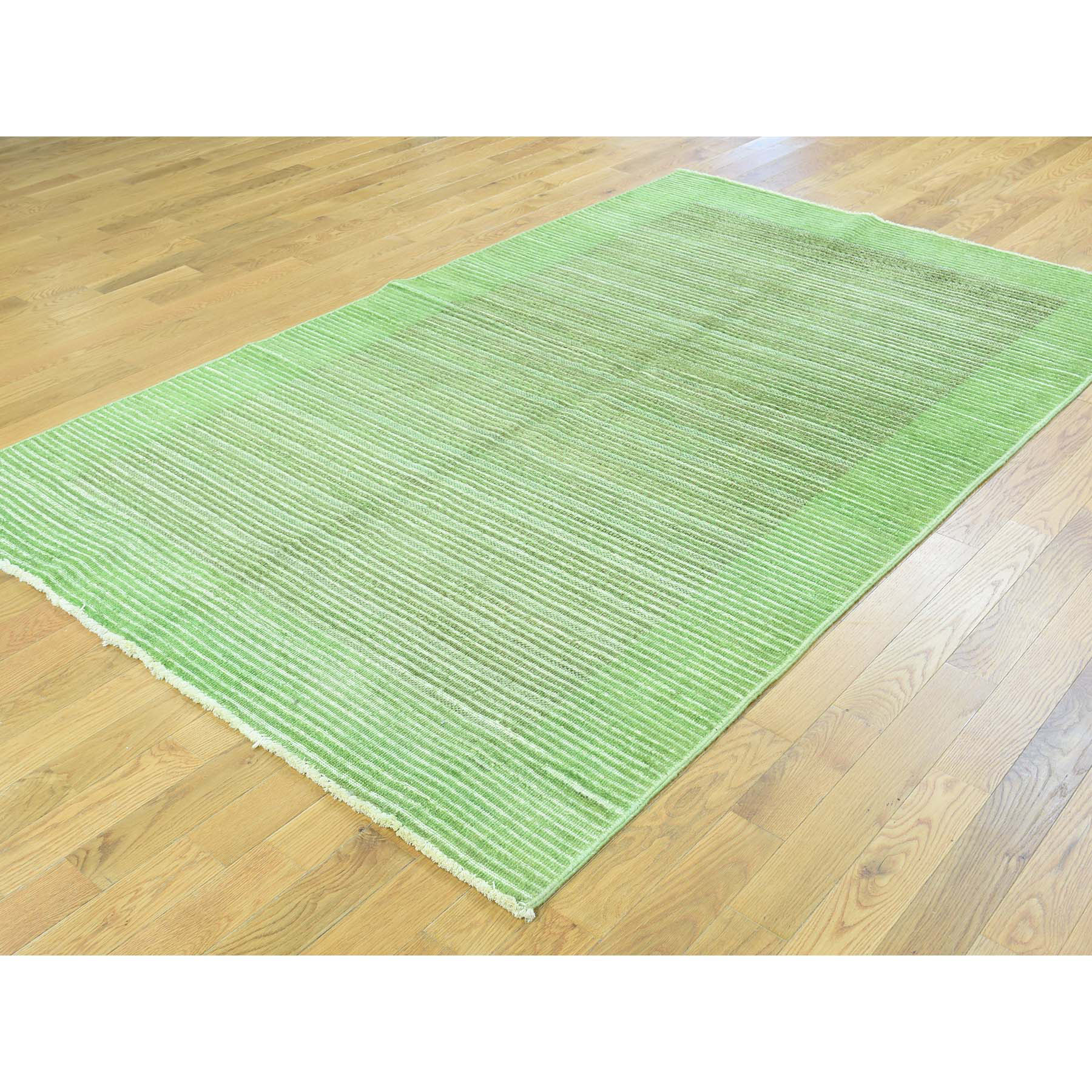 5-x8- Hand-Knotted 100 Percent Wool Gabbeh Overdyed Light Green Carpet