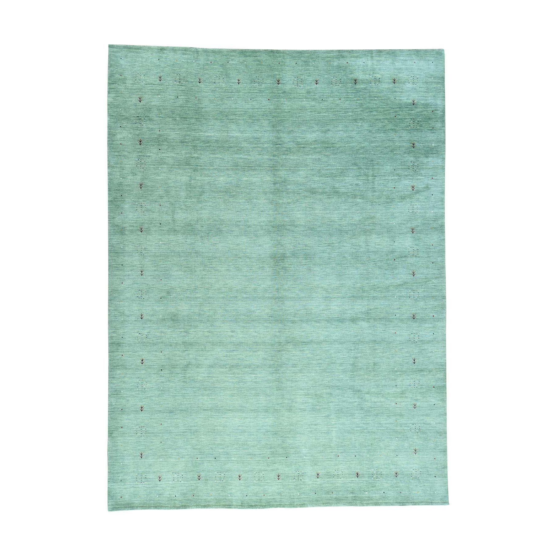 "10'2""X14' Modern Gabbeh Hand-Woven Pure Wool Folk Art Green Rug moacb009"
