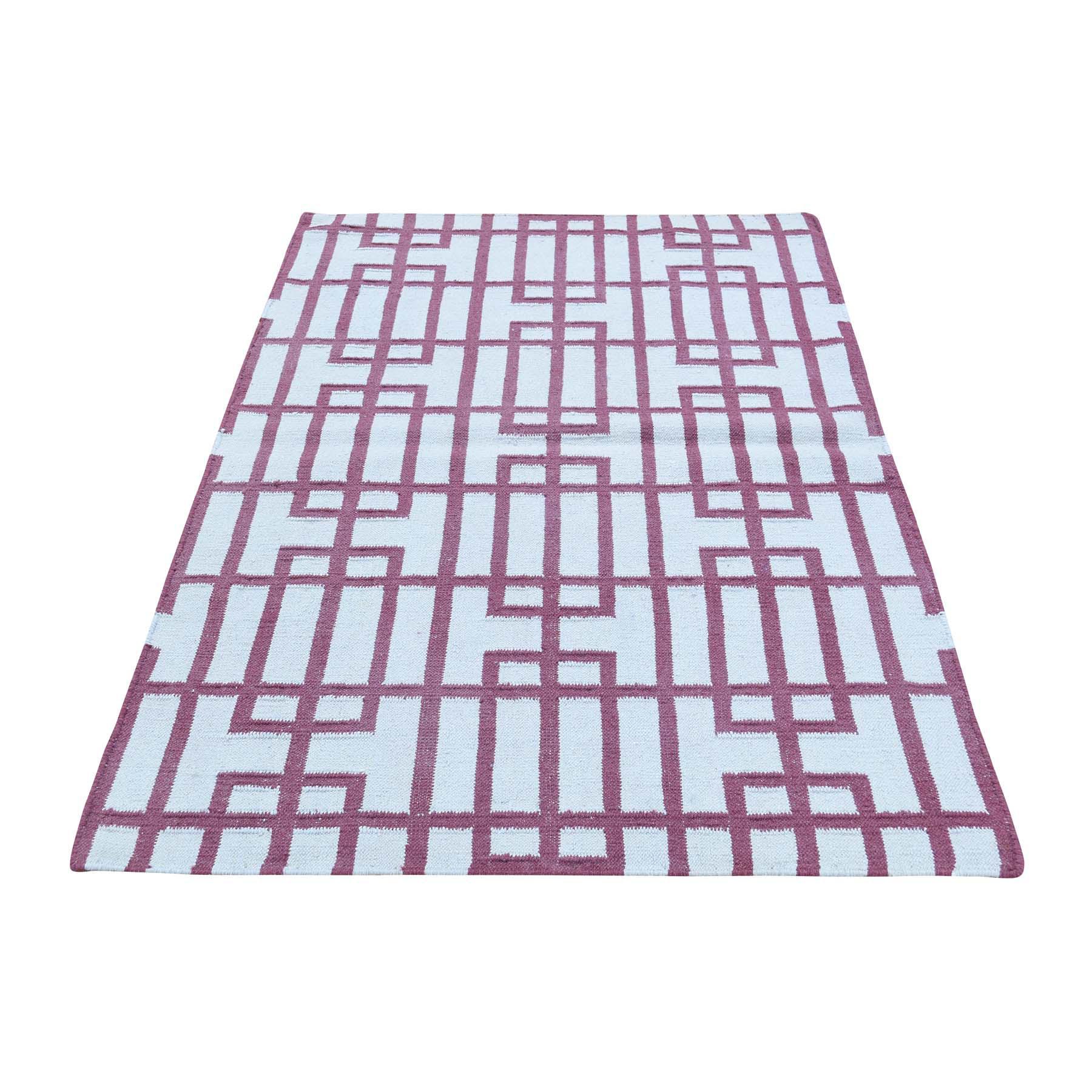 "3'X5'4"" Geometric Design Flat Weave Hand-Woven Reversible Kilim Carpet moacb0a8"