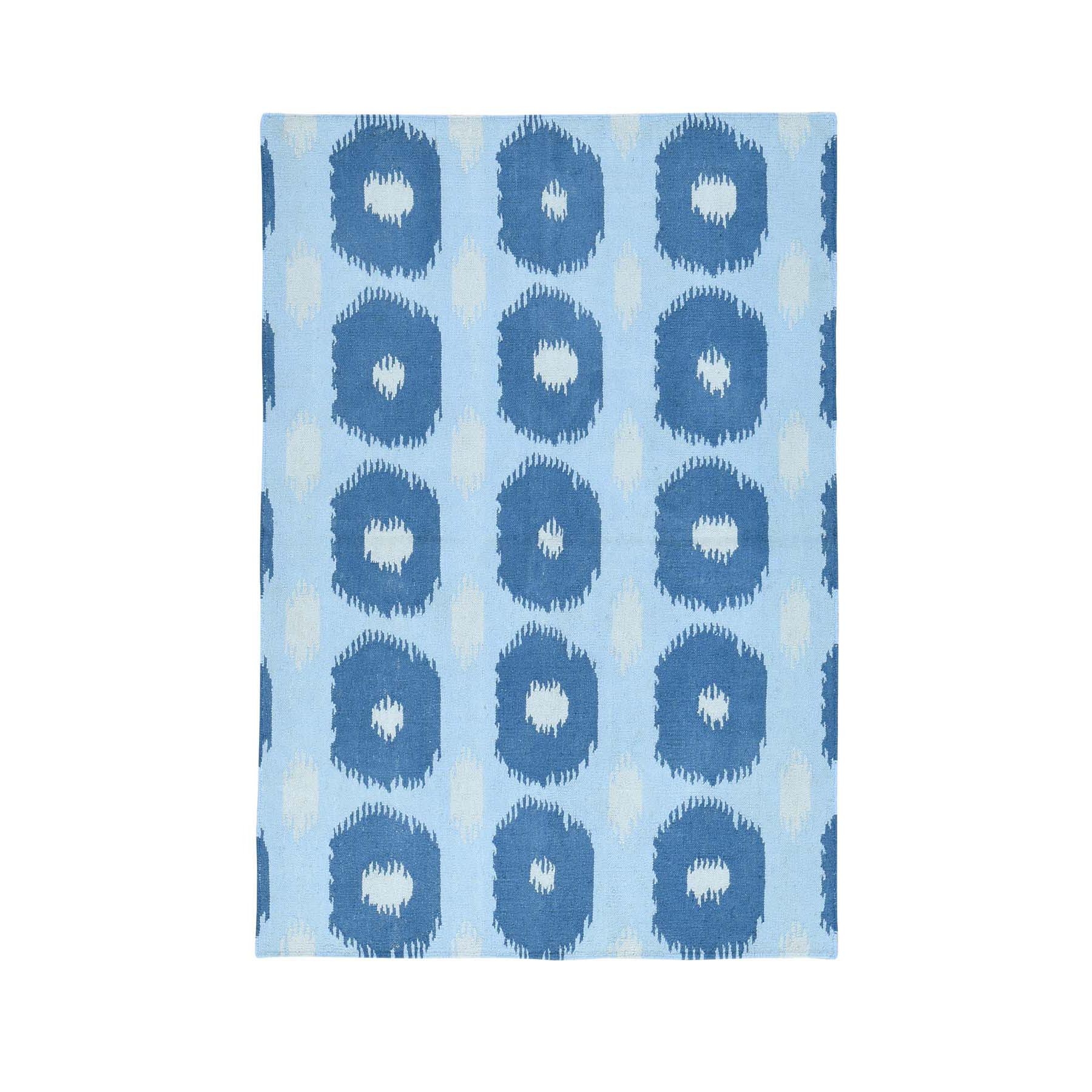 "4'2""X6'1"" Geometric Design Hand-Woven Reversible Kilim Flat Weave Rug moacb0a9"