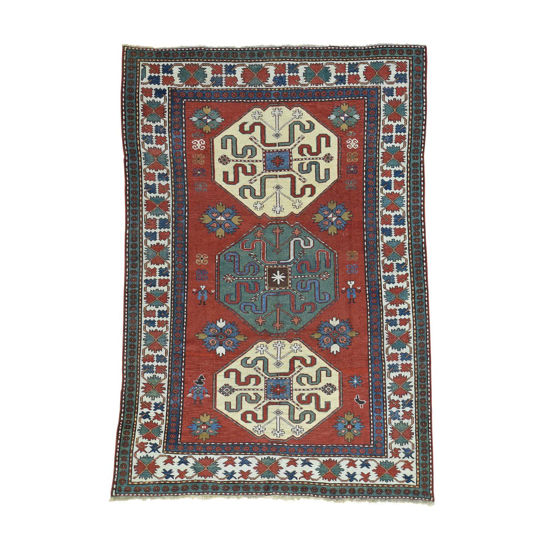 "6'X8'9"" Antique Kazak Exc Cond 100 Percent Wool Oriental Rug moacb0b6"