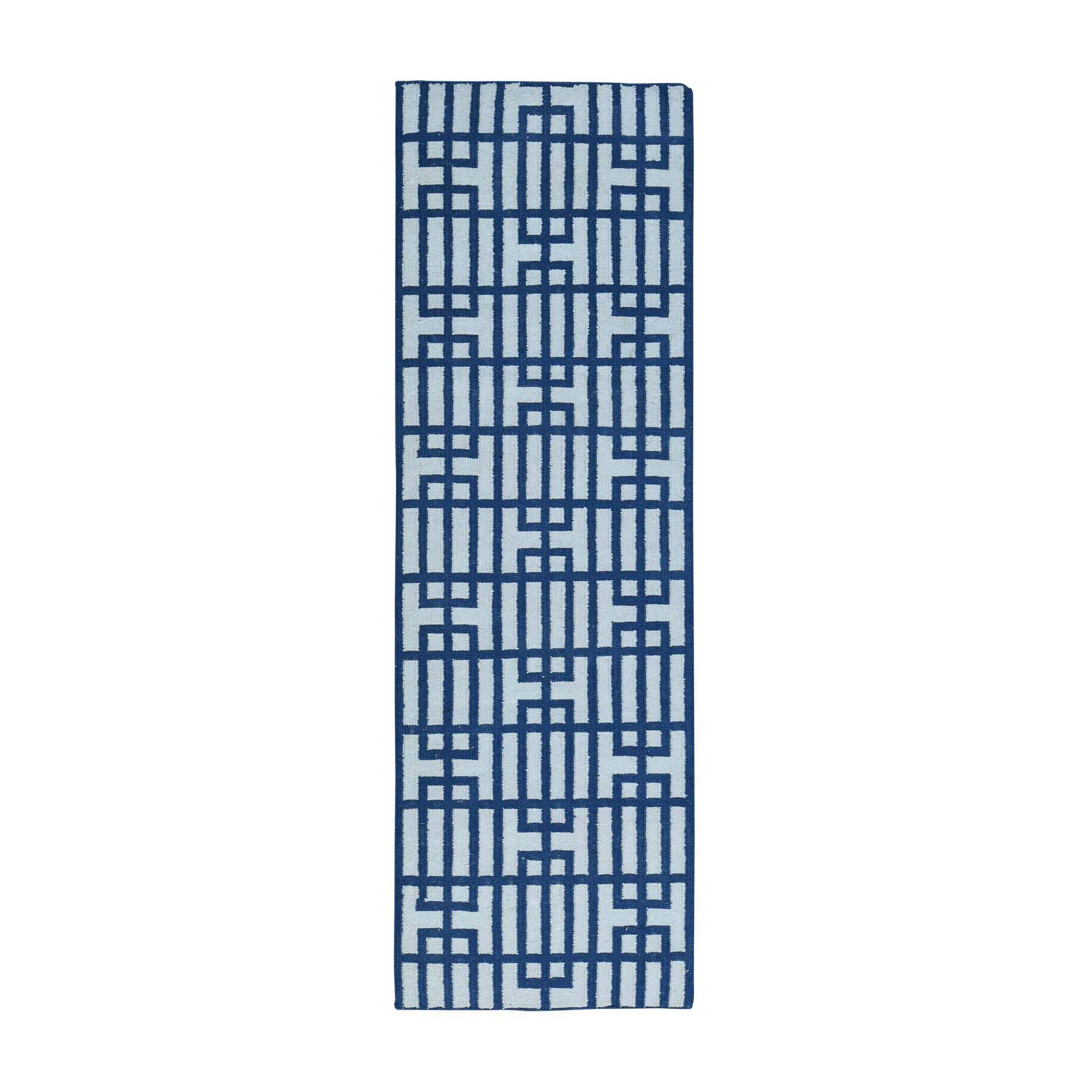 "2'7""X8' Hand-Woven Reversible Geometric Flat Weave Kilim Runner Rug moacb066"