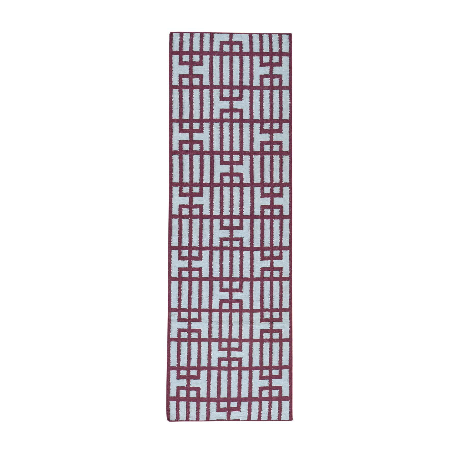 "2'6""X8' Hand-Woven Reversible Kilim Flat Weave Oriental Runner Rug moacb067"