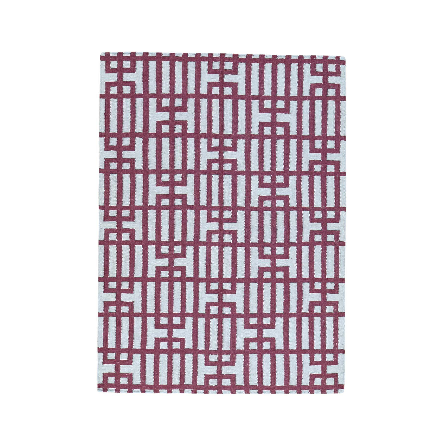 "4'4""X6' Hand-Woven Reversible Kilim Flat Weave Pure Wool Carpet moacb08c"