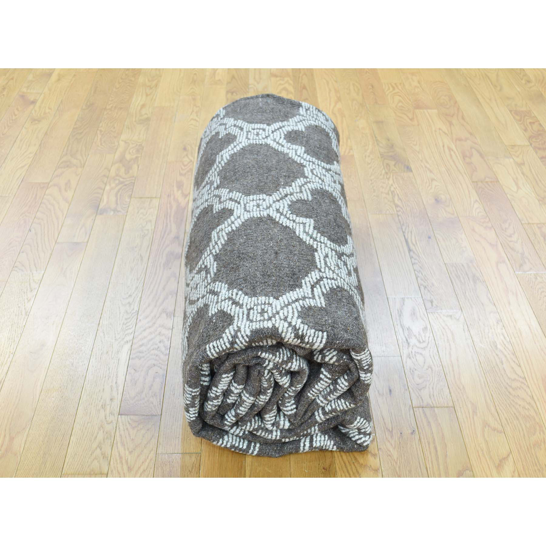 "9'3""x11'7"" Moroccan Berber Design Hand-Knotted High And Low Pile Rug"