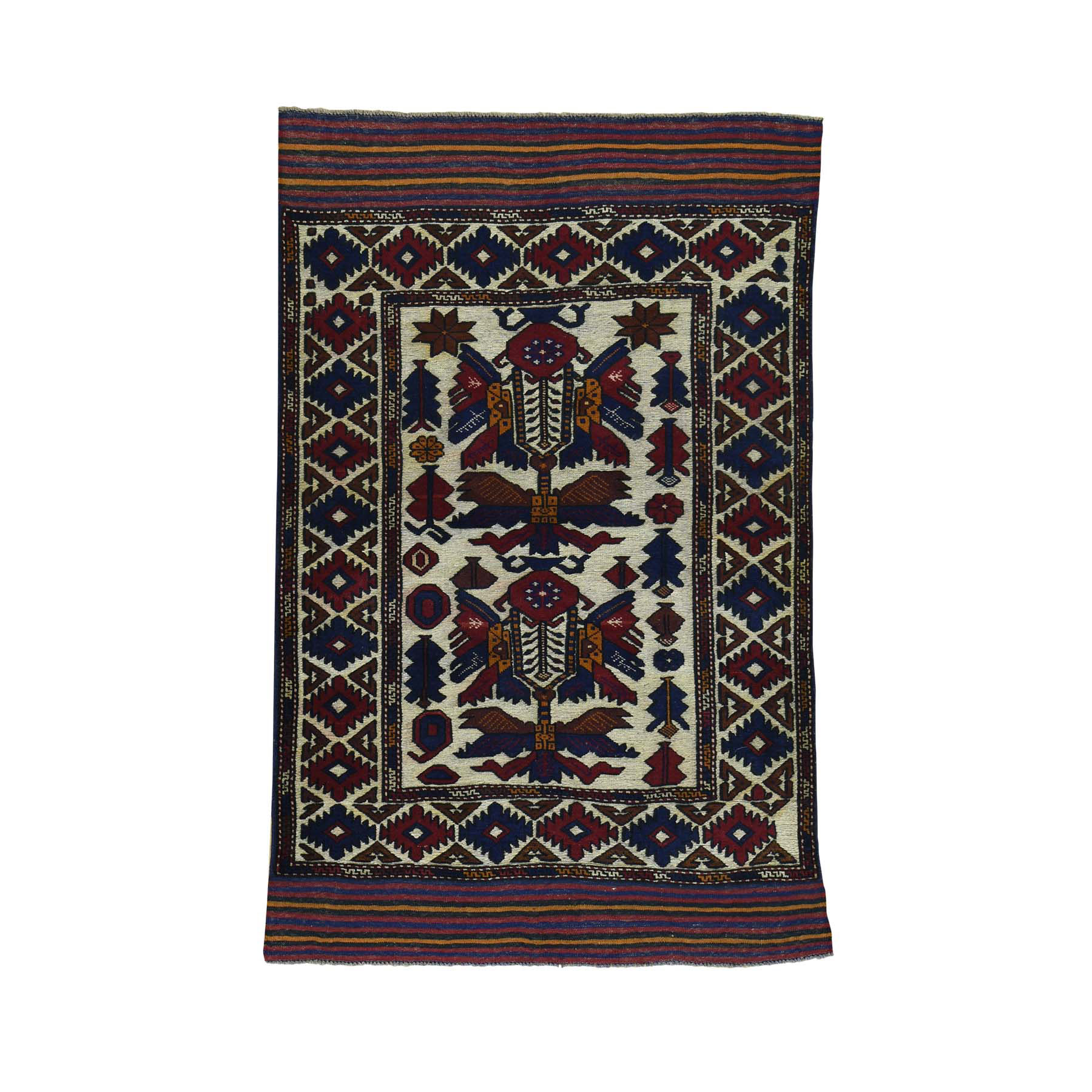 """4'1""""X6'3"""" Afghan Baluch With Soumak Weave Hand-Knotted Oriental Carpet moacbaba"""