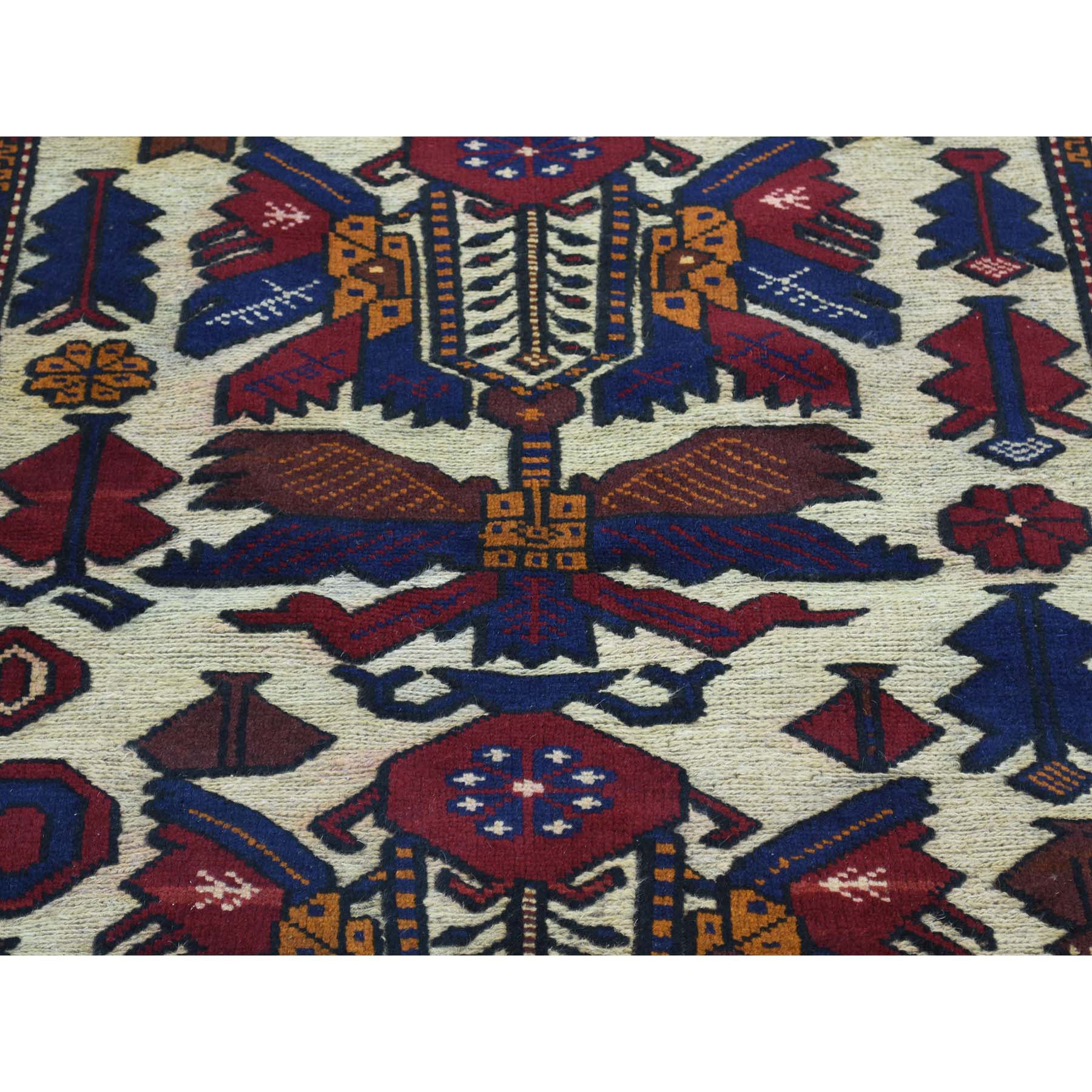 4-1 x6-3  Afghan Baluch With Soumak Weave Hand-Knotted Oriental Carpet
