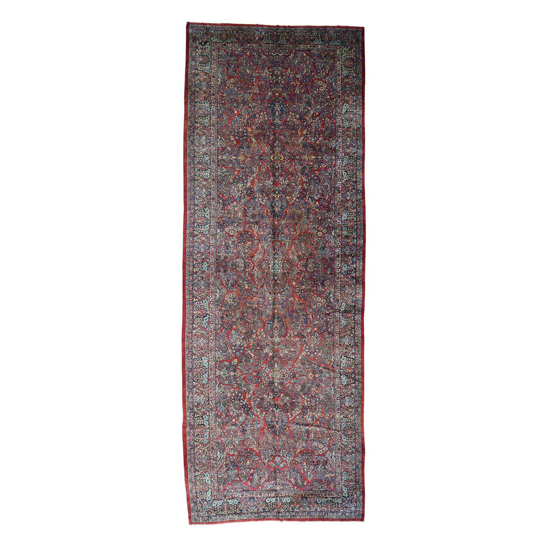 "9'X25'7"" Hand-Knotted Antique Persian Sarouk Gallery Size Exc Cond Rug moacbacb"
