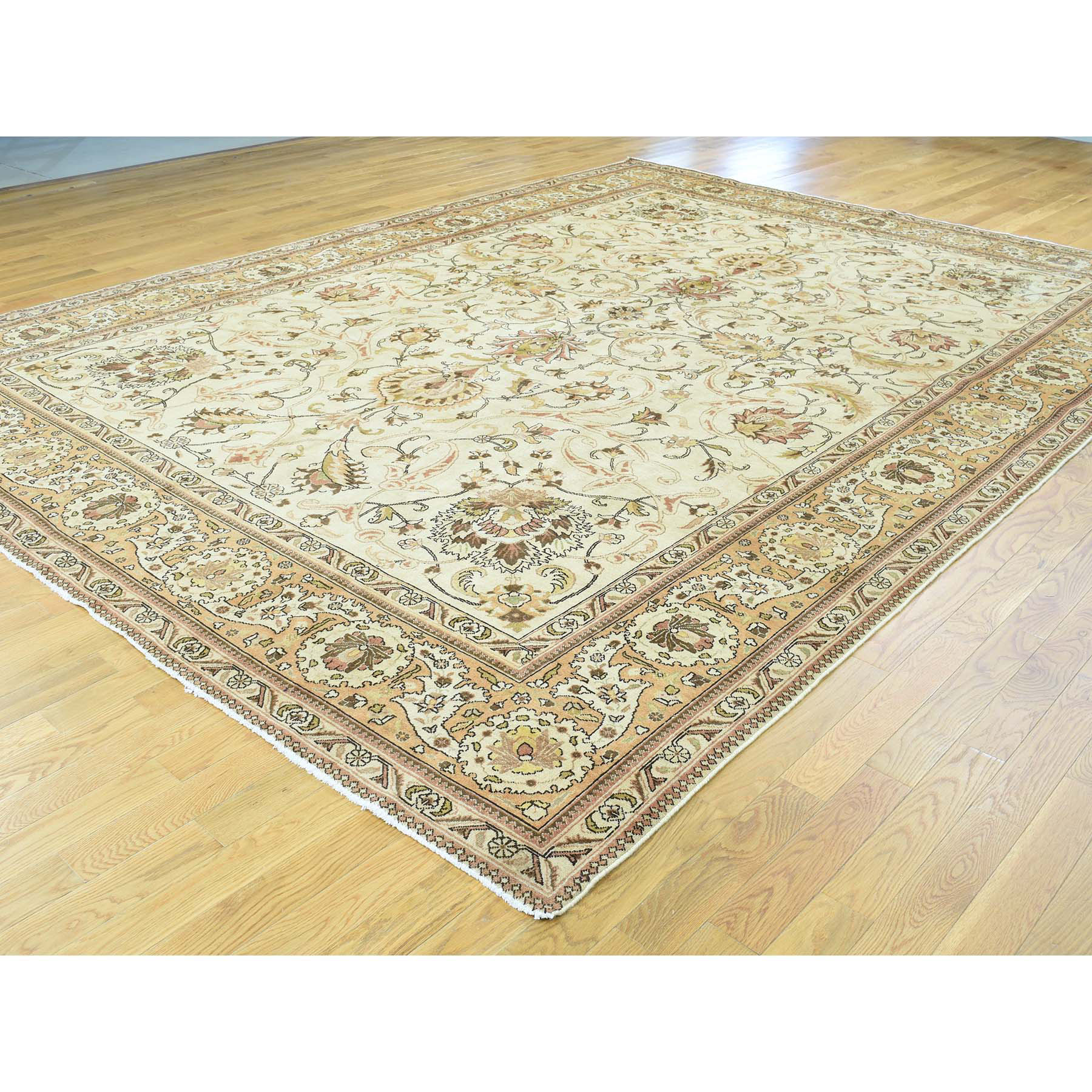 9-8 x12-10  Antique Persian Tabriz Hand-Knotted Full Pile Oriental Rug