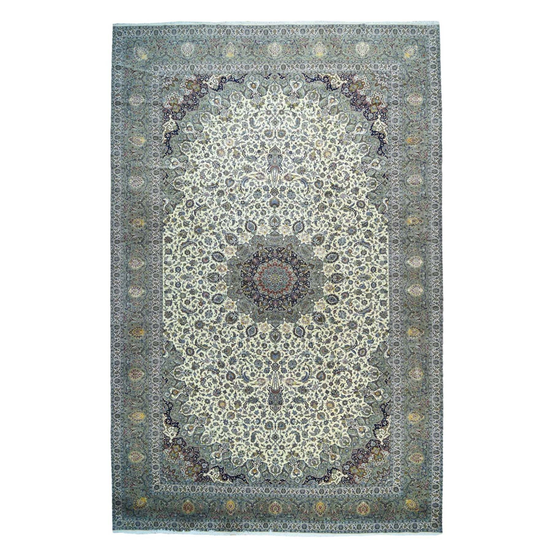 "16'5""x26' Oversize Persian Kashan Silk Flowers Sheikh Safi Design Rug"