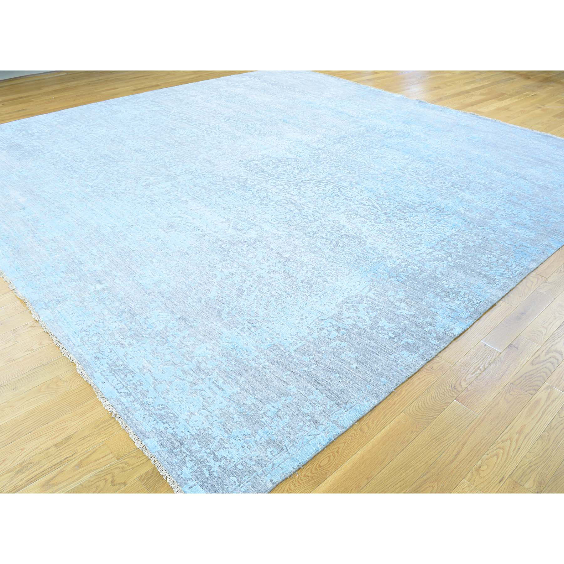 "11'8""x11'8"" Hand-Knotted Broken Persian Design Square Wool And Silk Rug"