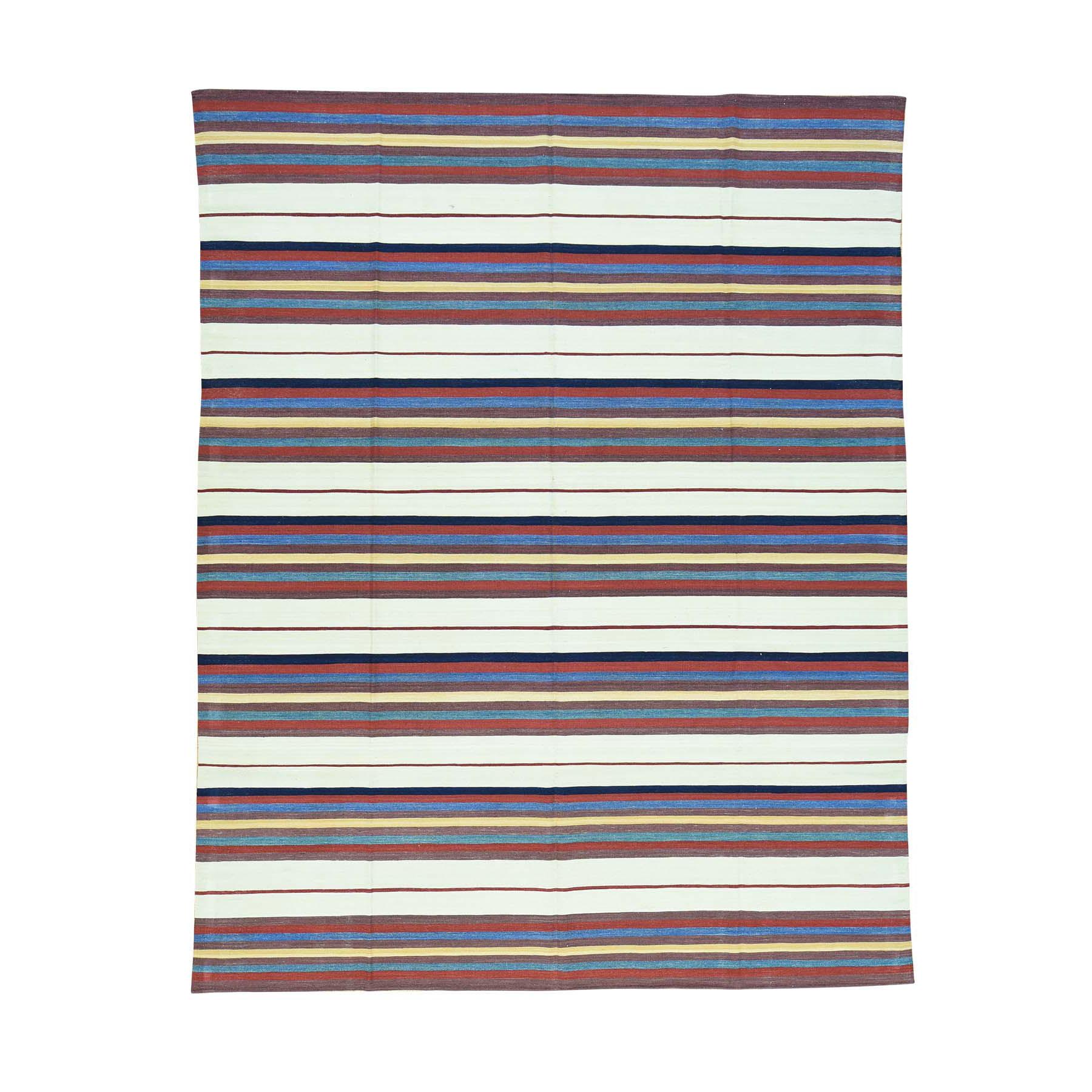"8'3""X10'4"" Hand-Woven Striped Flat Weave Qashqai Kilim Oriental Rug moacbbed"