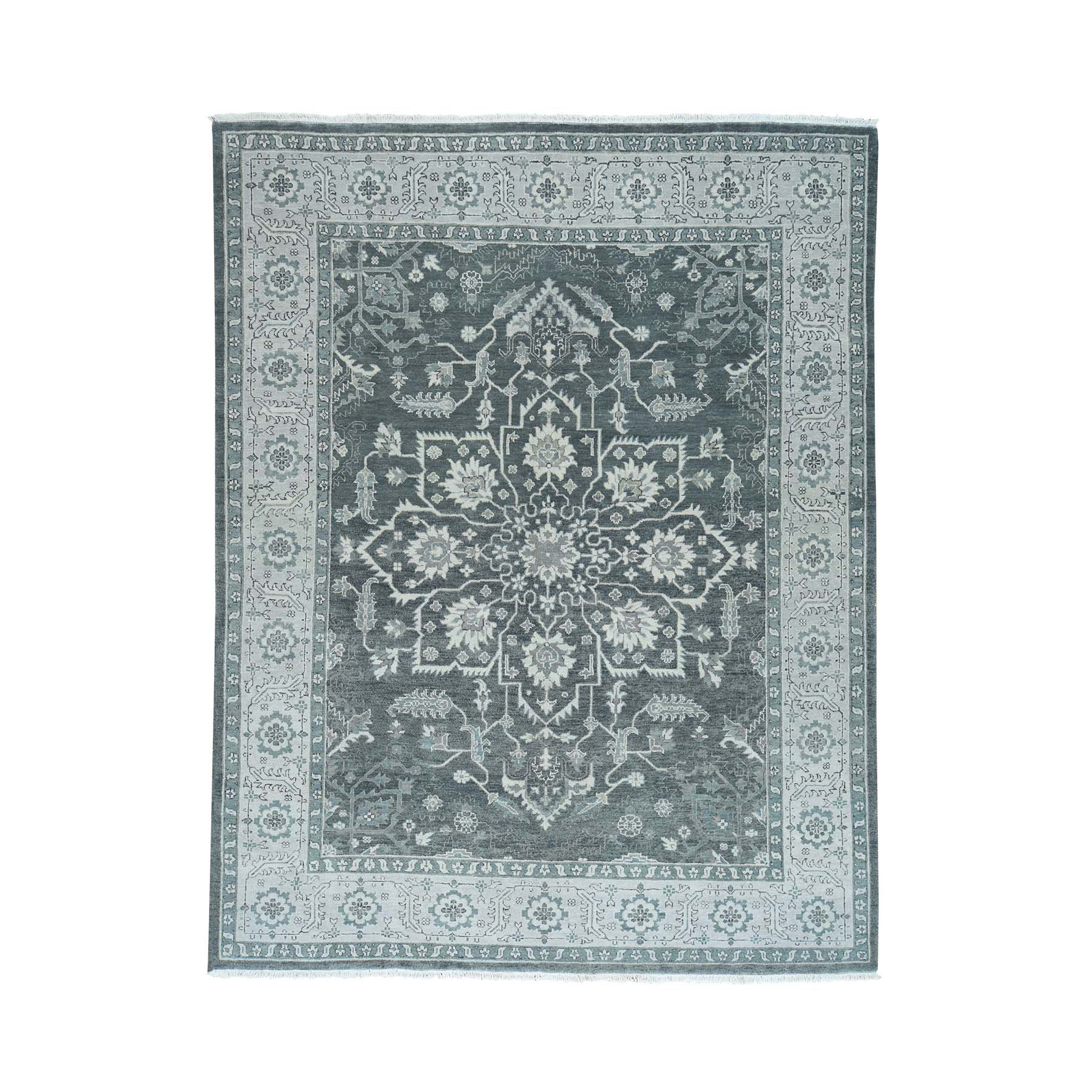 "8'X10'1"" Silver Wash Serapi Heriz Hand-Knotted Pure Wool Oriental Rug moacbbe6"