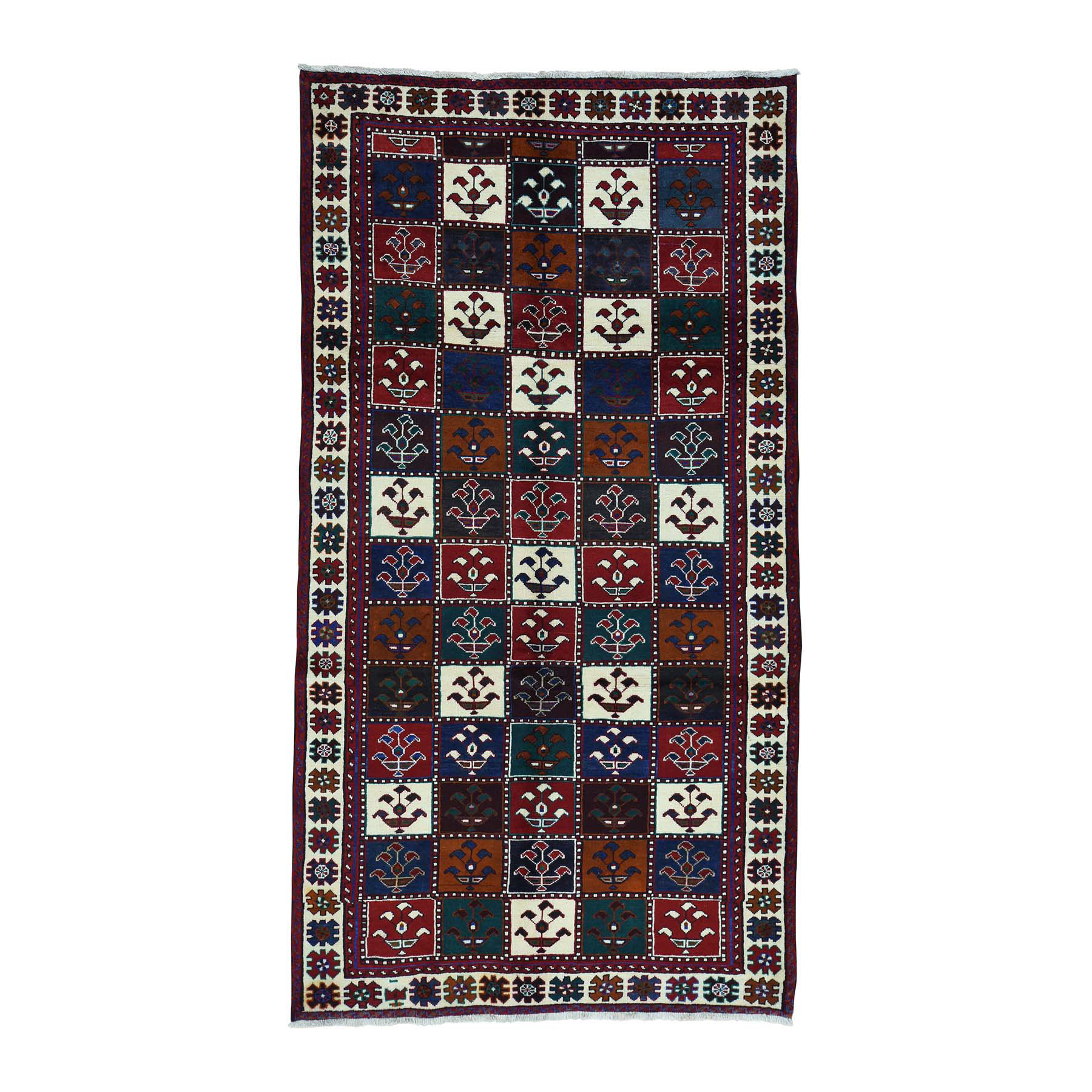 "4'10""X9'2"" Semi Antique Persian Bakhtiari Wide Runner Hand-Knotted Rug moacbb69"
