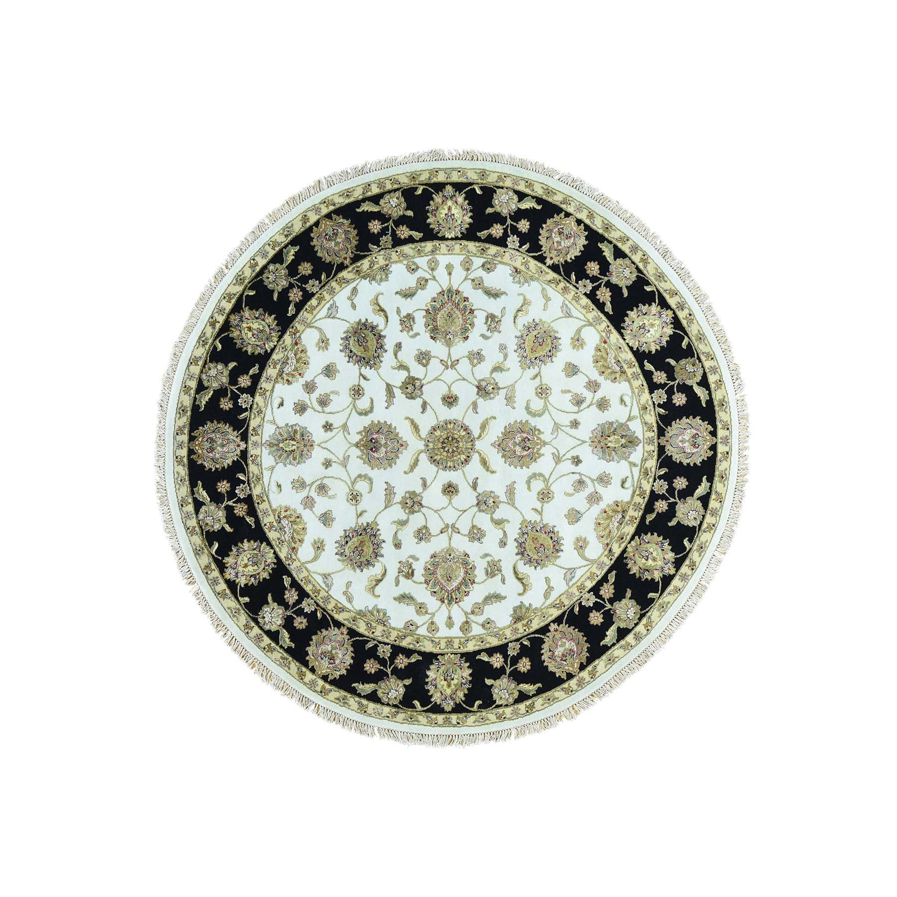 8'X8' Hand-Knotted Round Rajasthan Half Wool And Half Silk Oriental Rug moacbcad