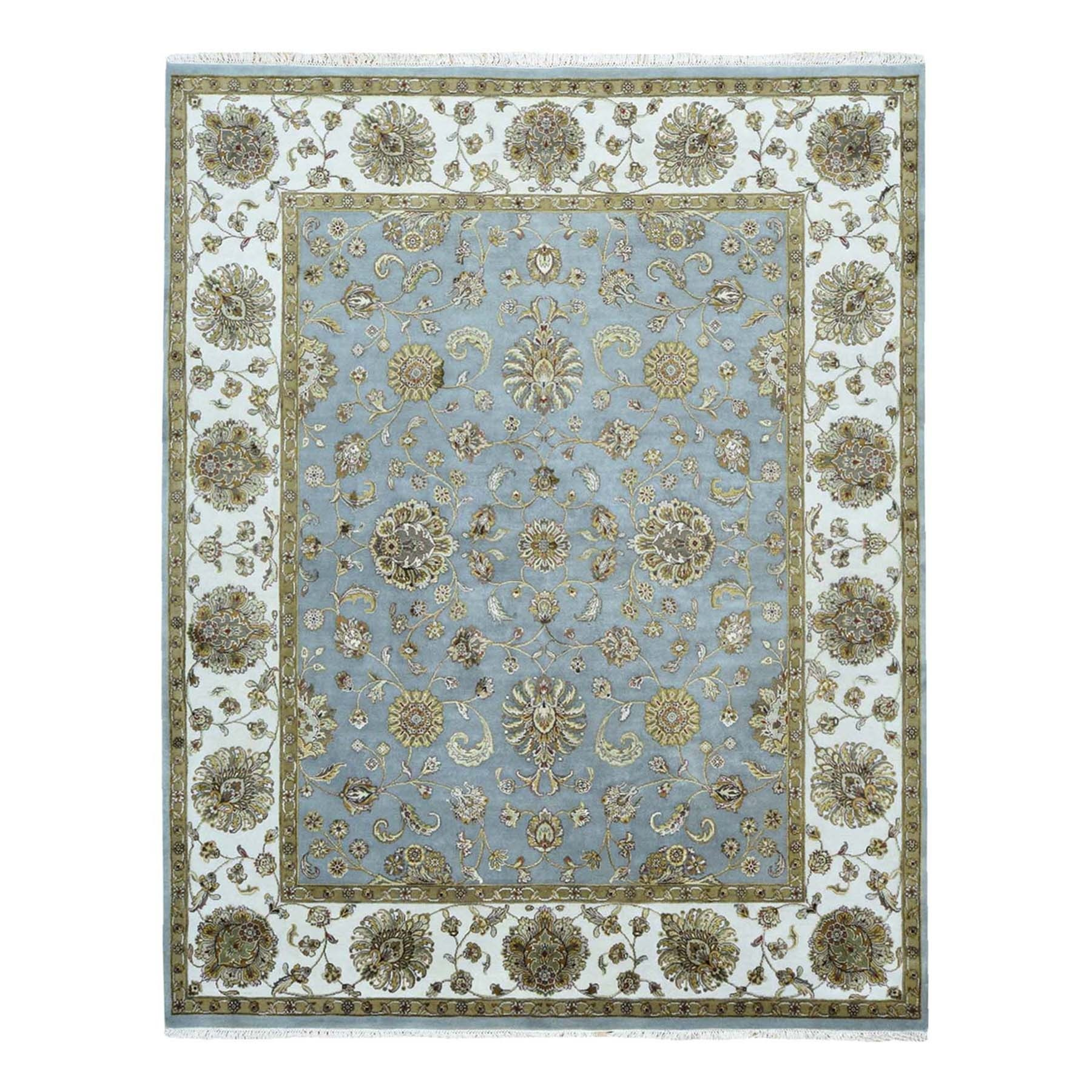 8'x10' Half Wool And Half Silk Hand-Knotted Rajasthan Silk Flower Rug