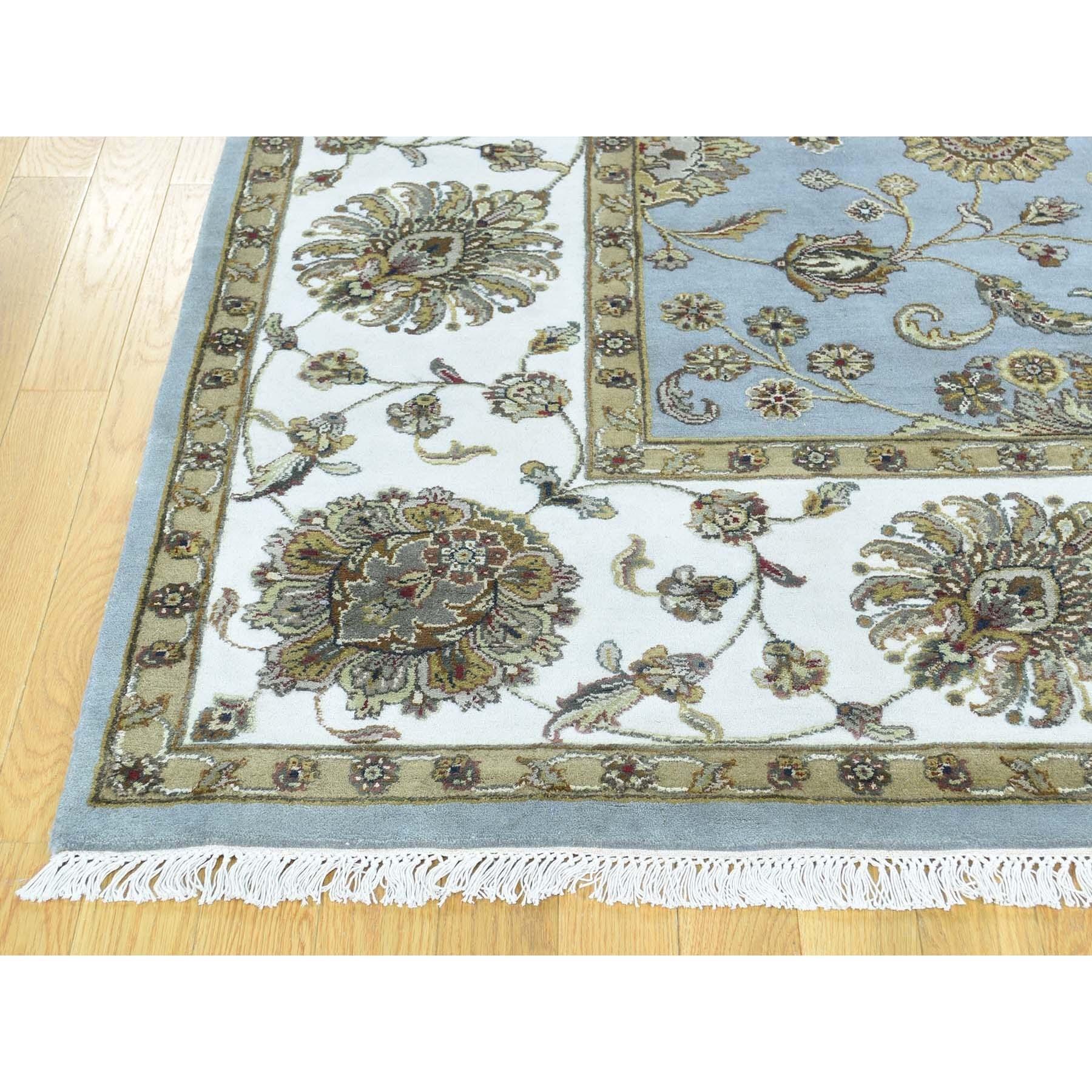 8'x10' Half Wool And Half Silk Hand-Knotted Rajasthan Silk Flower Rug