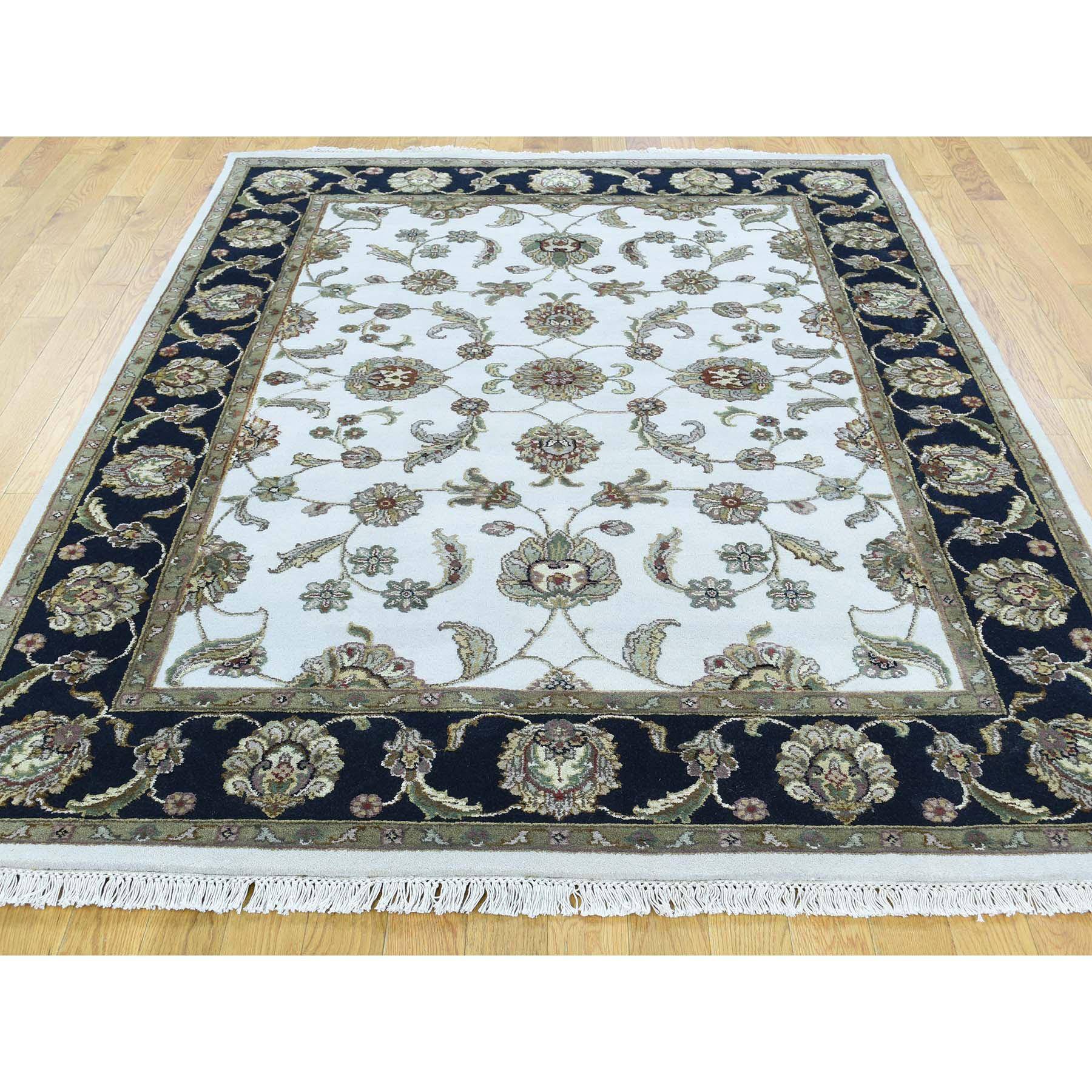 5-1 x7- Half Wool And Half Silk Hand-Knotted Rajasthan Oriental Carpet