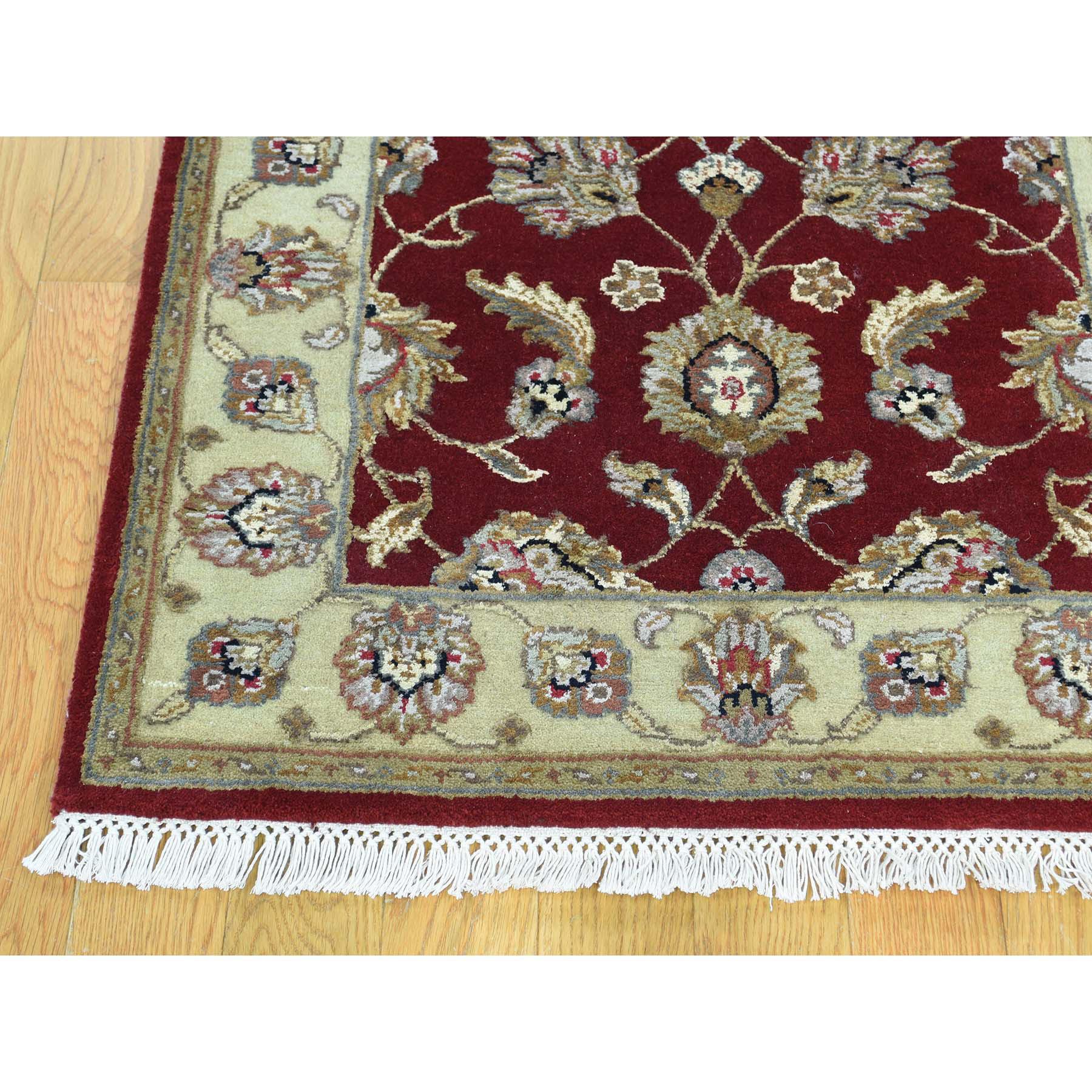 2-6 x14-10  Half Wool And Half Silk Red Rajasthan XL Runner Handmade Rug