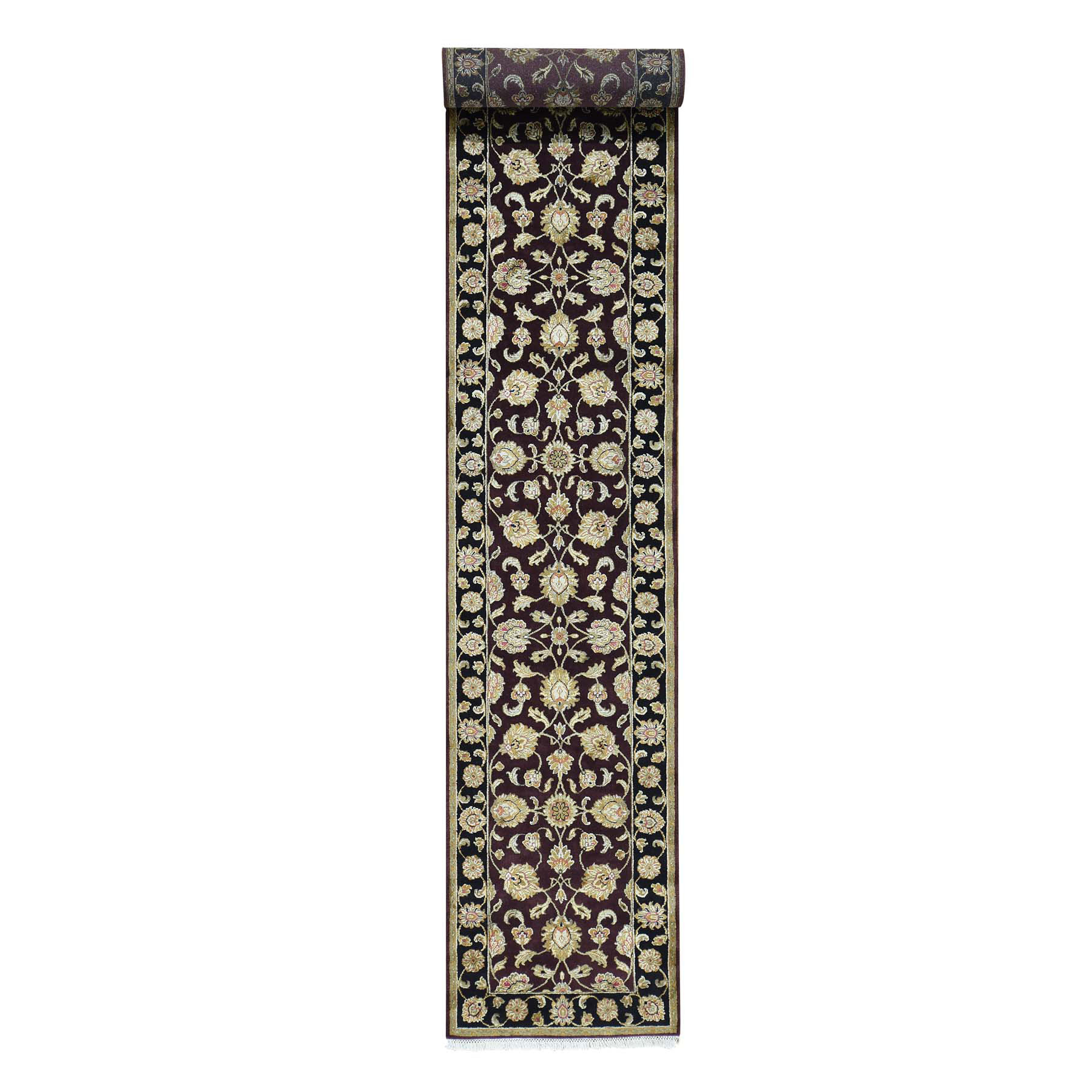 """2'6""""X16'3"""" Handmade Half Wool Half Silk Burgundy Rajasthan Xl Runner Rug moacbcc9"""