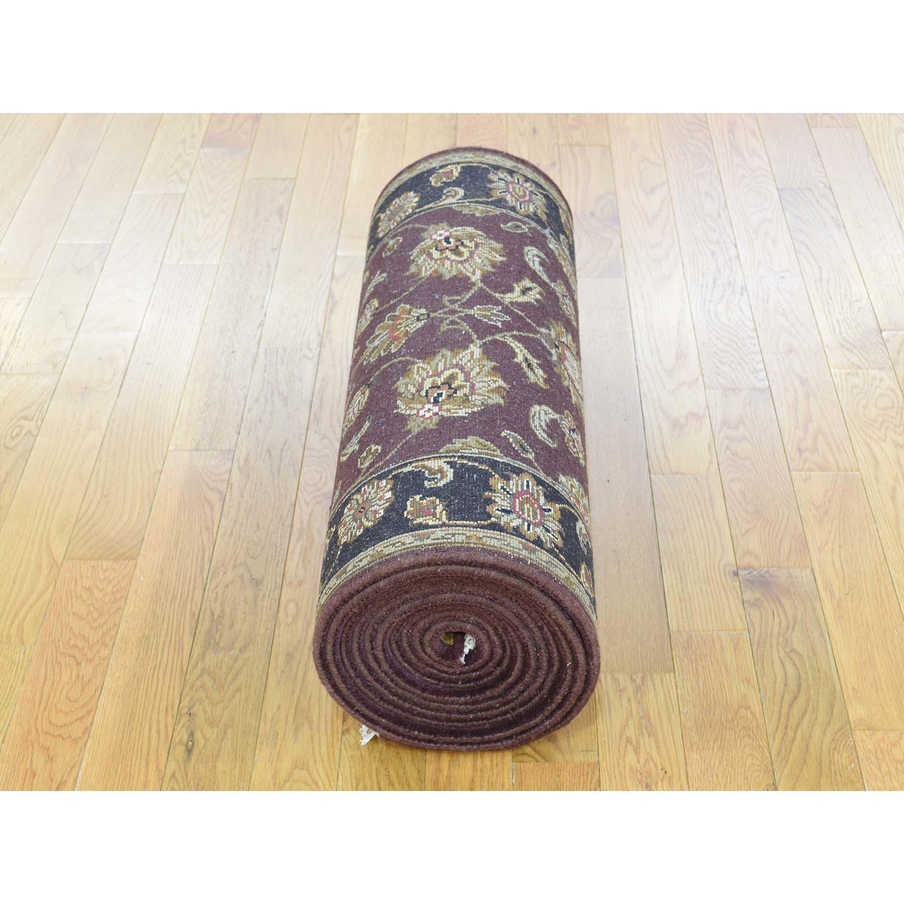 """2'6""""x16'3"""" Handmade Half Wool Half Silk Burgundy Rajasthan XL Runner Rug"""