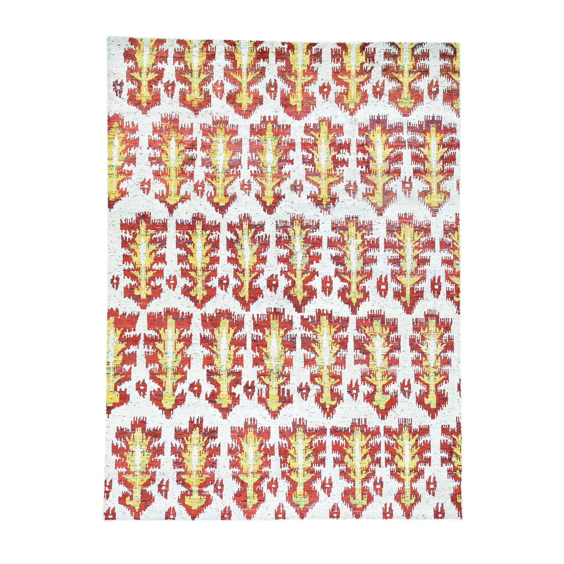 "9'x12'1"" On Clearance Hand-Knotted Modern Sari Silk Ikat Design Oriental Rug"