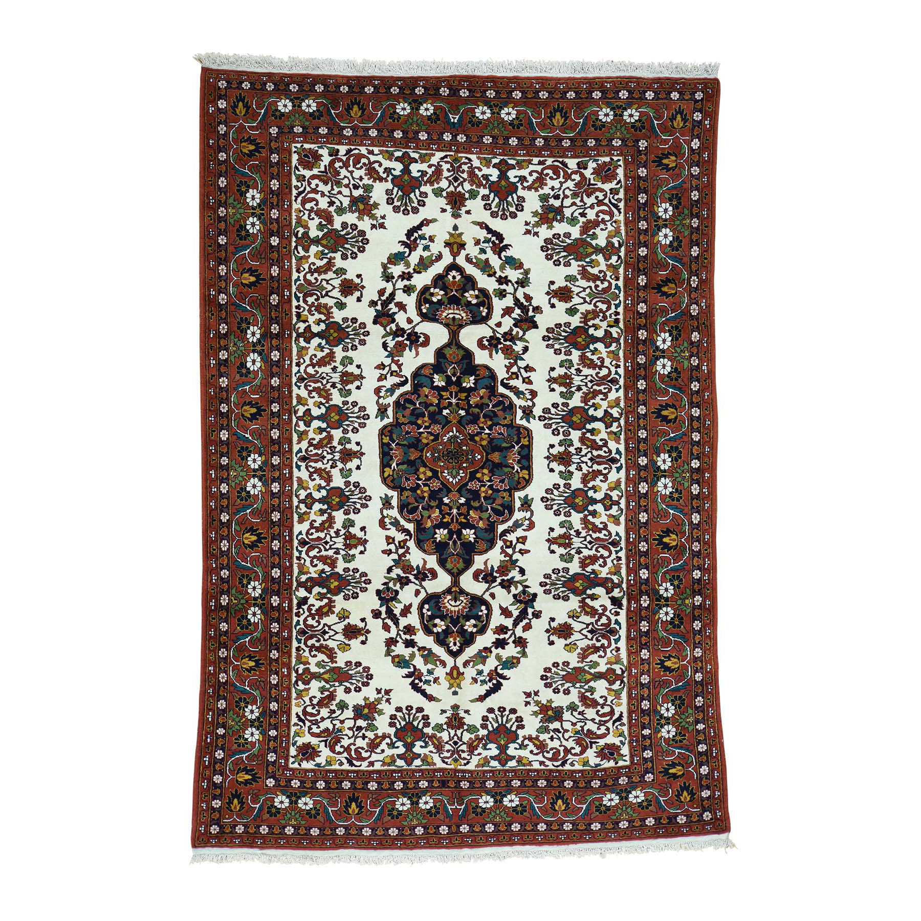"6'5""X9'7"" On Clearance Ivory Persian Ardabil Hand-Knotted Pure Wool Oriental Rug moacbc90"