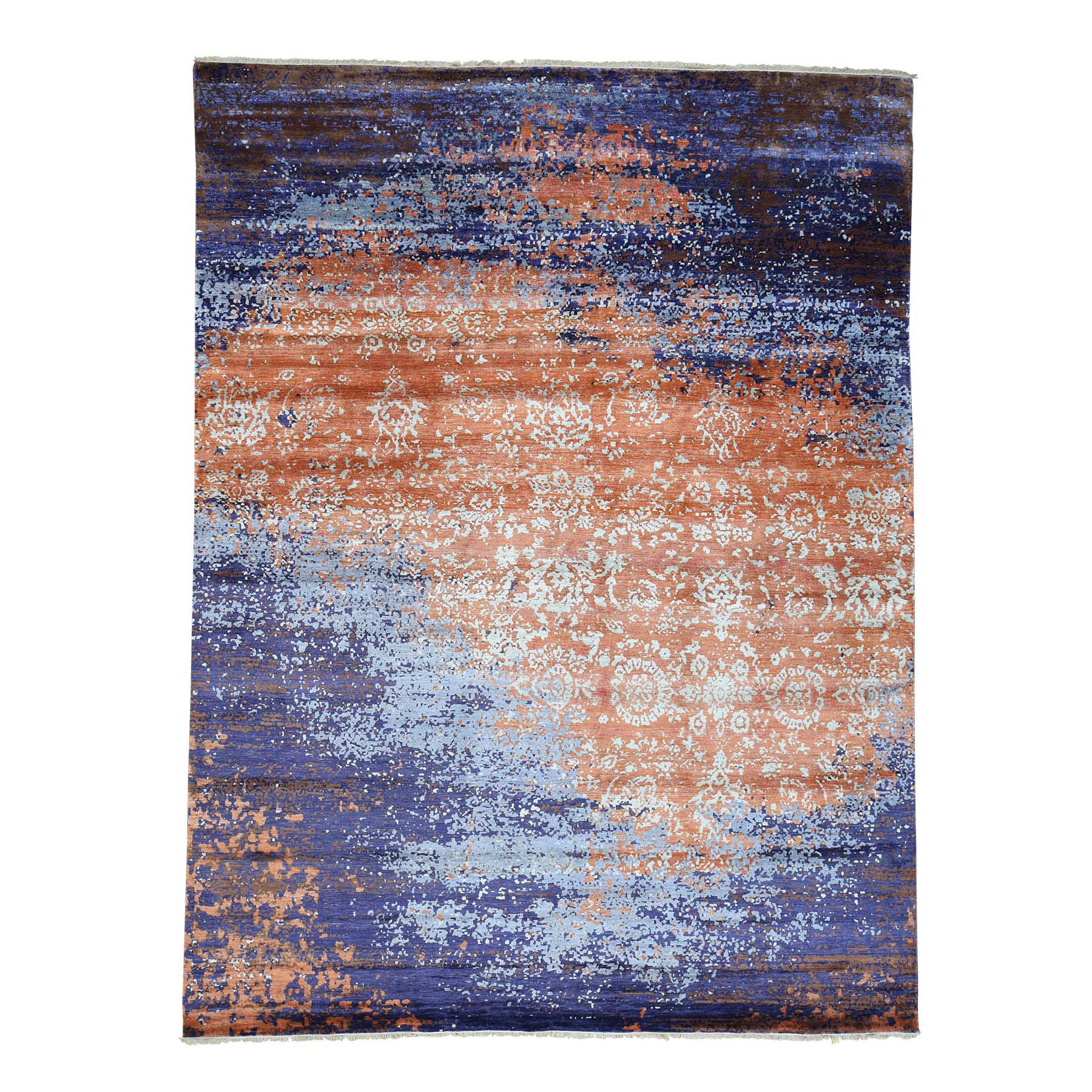 "8'10""x11'10"" Wool and Silk Modern Broken Design Hand-Knotted Rug"