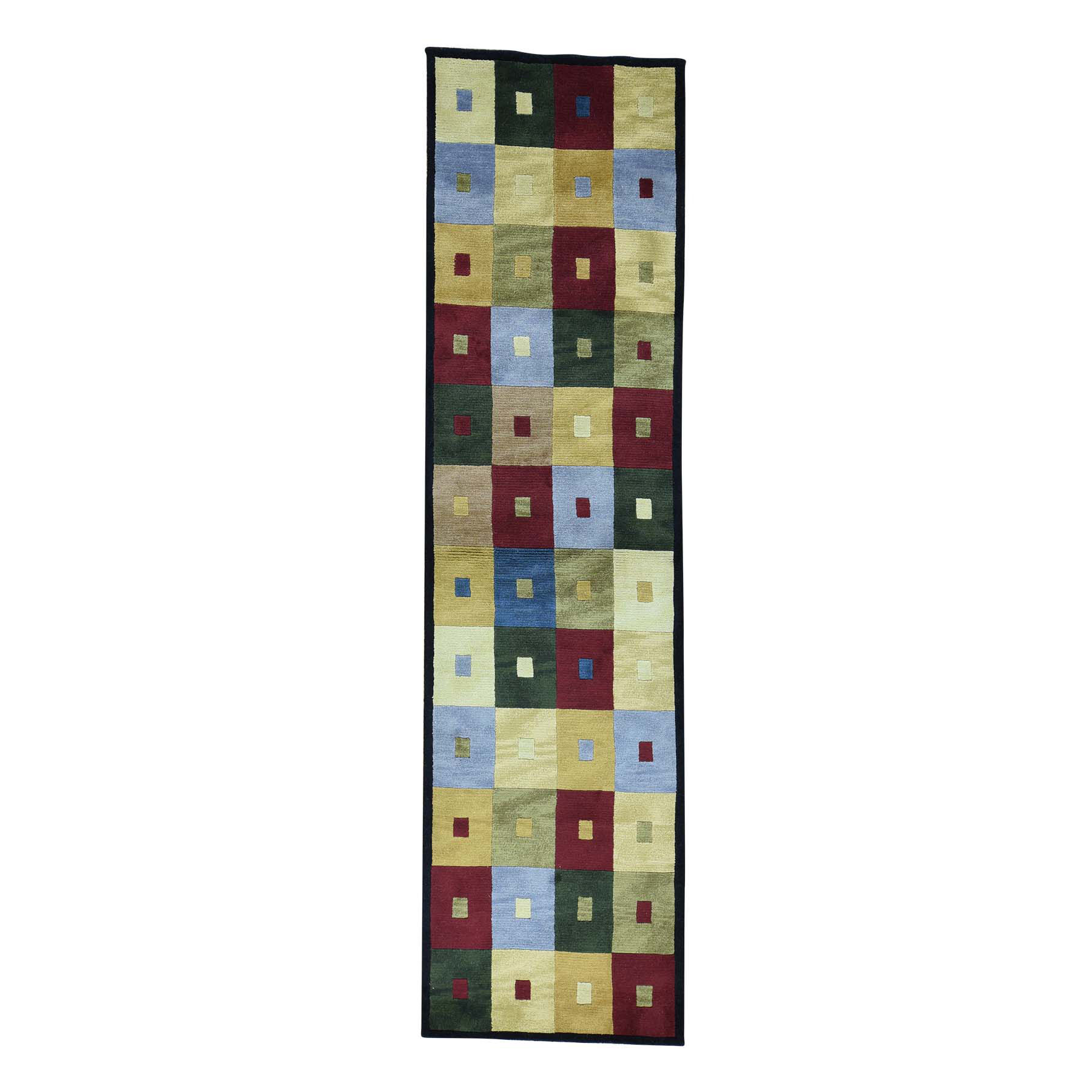 "2'7""X9'9"" Hand-Knotted Modern Nepali Pure Wool Runner Rug moacbecd"