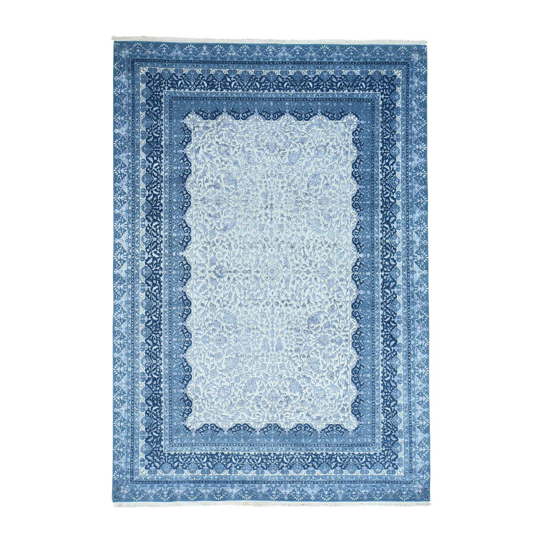 "7'10""x11'5"" Hand-Knotted Kashan Half Wool Half Silk 300 Kpsi Rug"