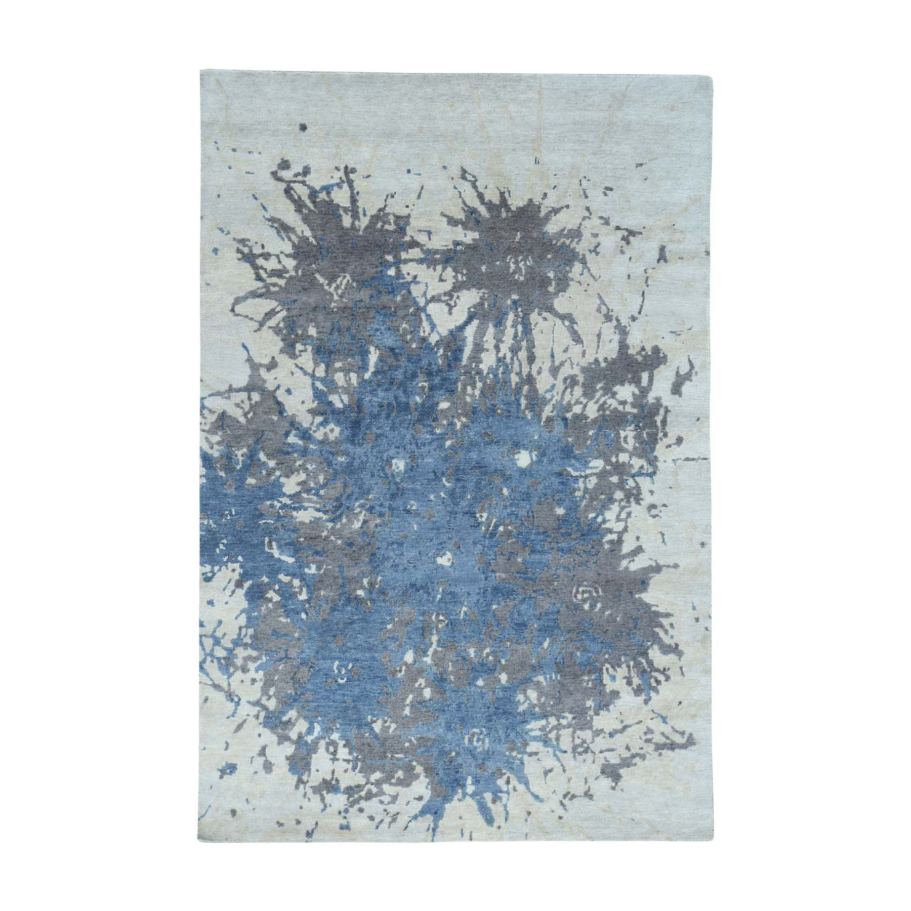 6'X9' Hand-Knotted 100 Percent Wool Splash Abstract Design Carpet moacbe76