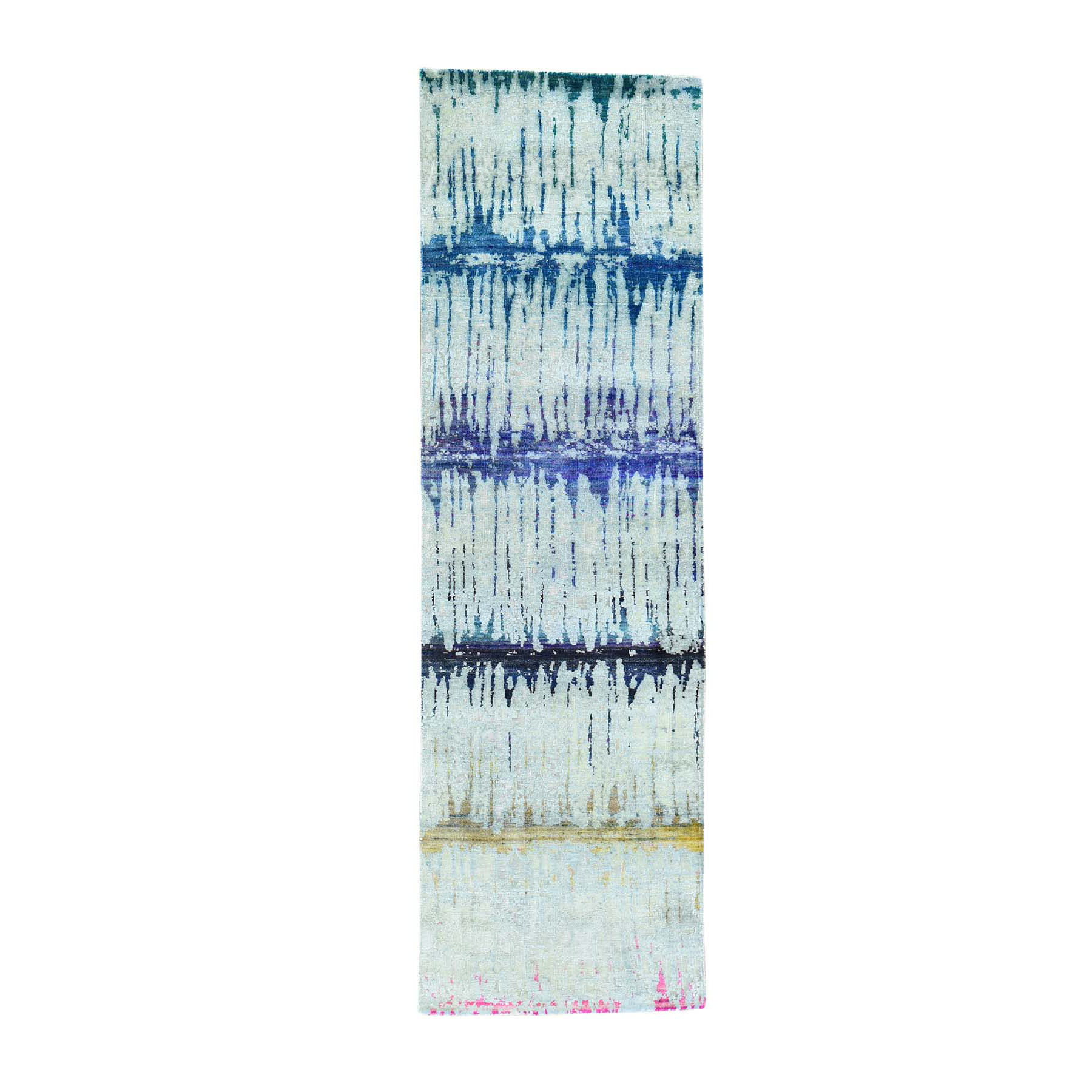 "2'5""X8' The Cardiac Sari Silk With Oxidized Wool Handmade Runner Rug moacb698"