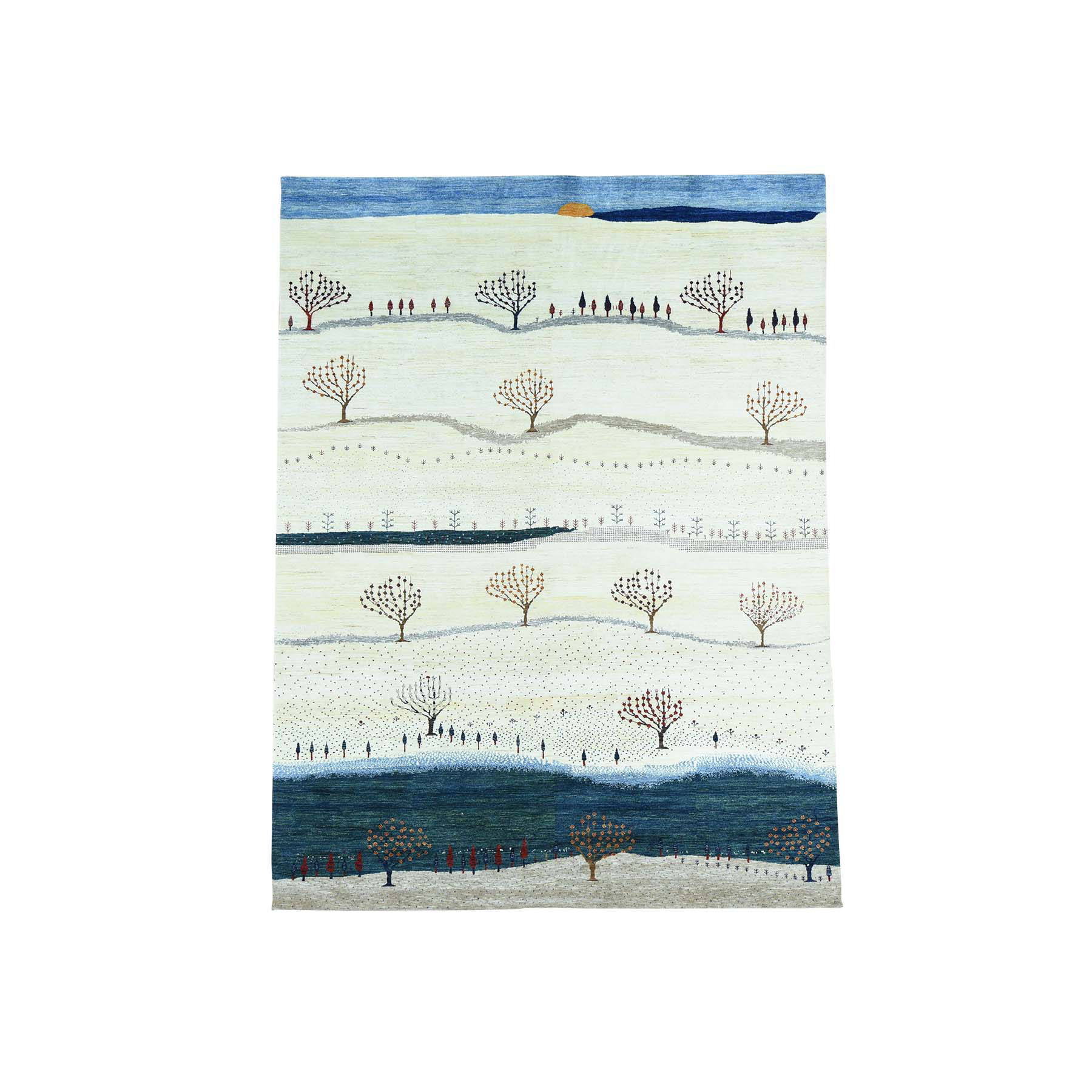 9'X12' Hand-Knotted Modern Folk Art Gabbeh Persian Wool Oriental Rug moacb707