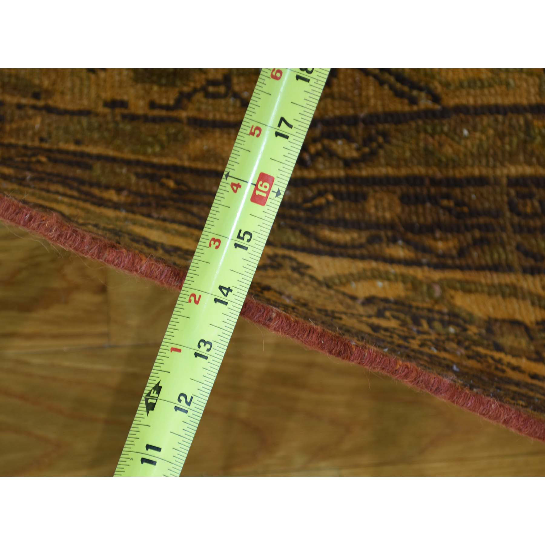 6-7 x9-2  Handmade Orange Persian Bibikabad Overdyed Pure Wool Worn Rug