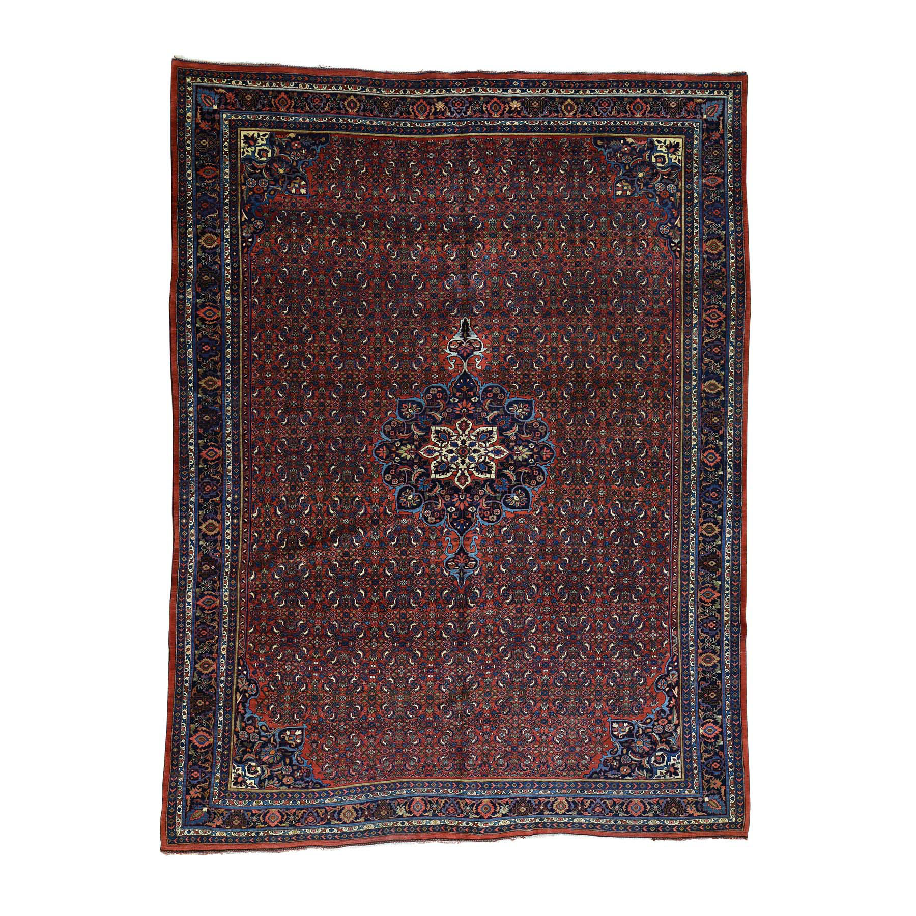 "10'5""X13'9"" Antique Persian Bijar Exc Cond Hand-Knotted Oriental Rug moacb8d0"
