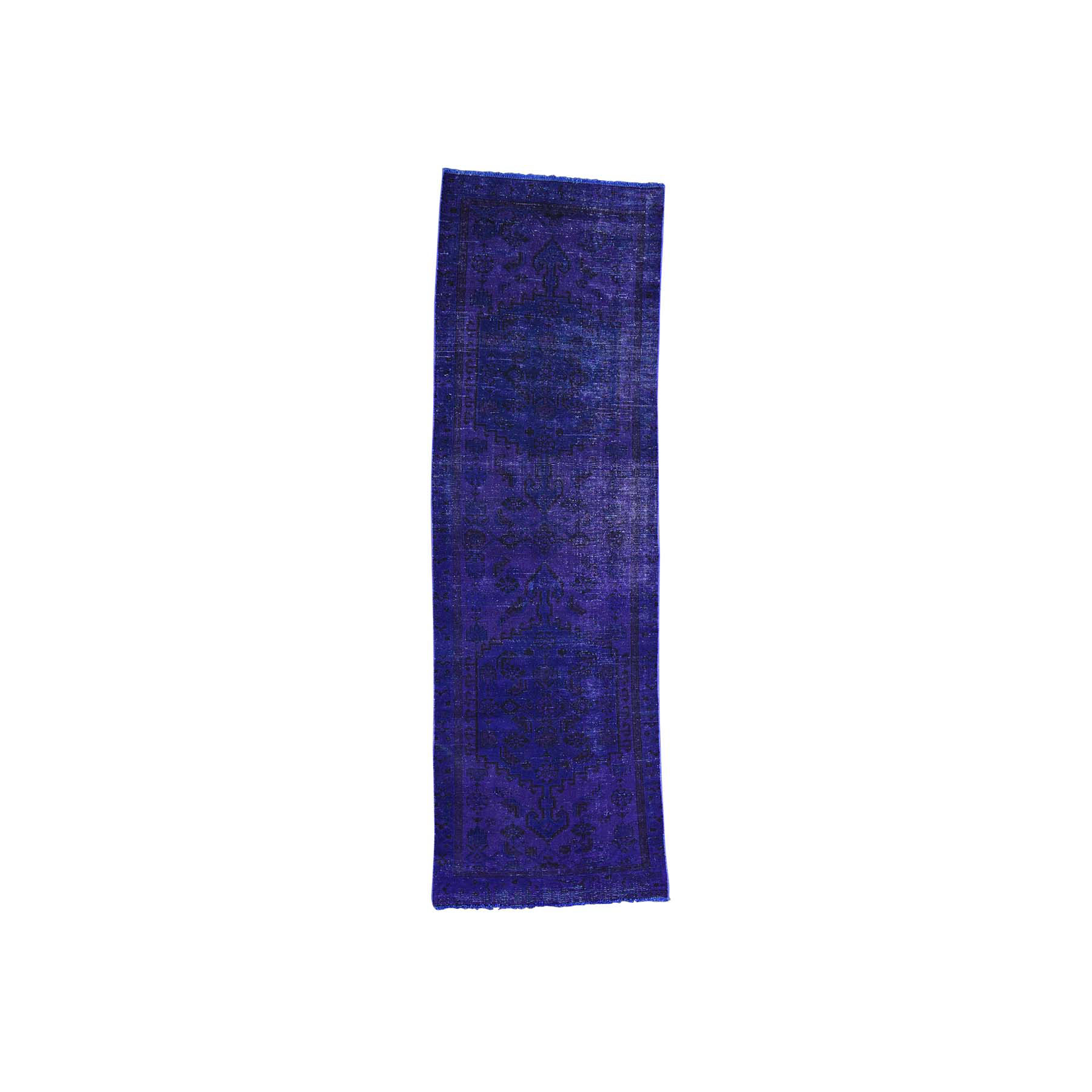 """3'1""""X9'7"""" On Clearance Hand-Knotted Pure Wool Overdyed Hamadan Runner Worn Rug moacb89a"""