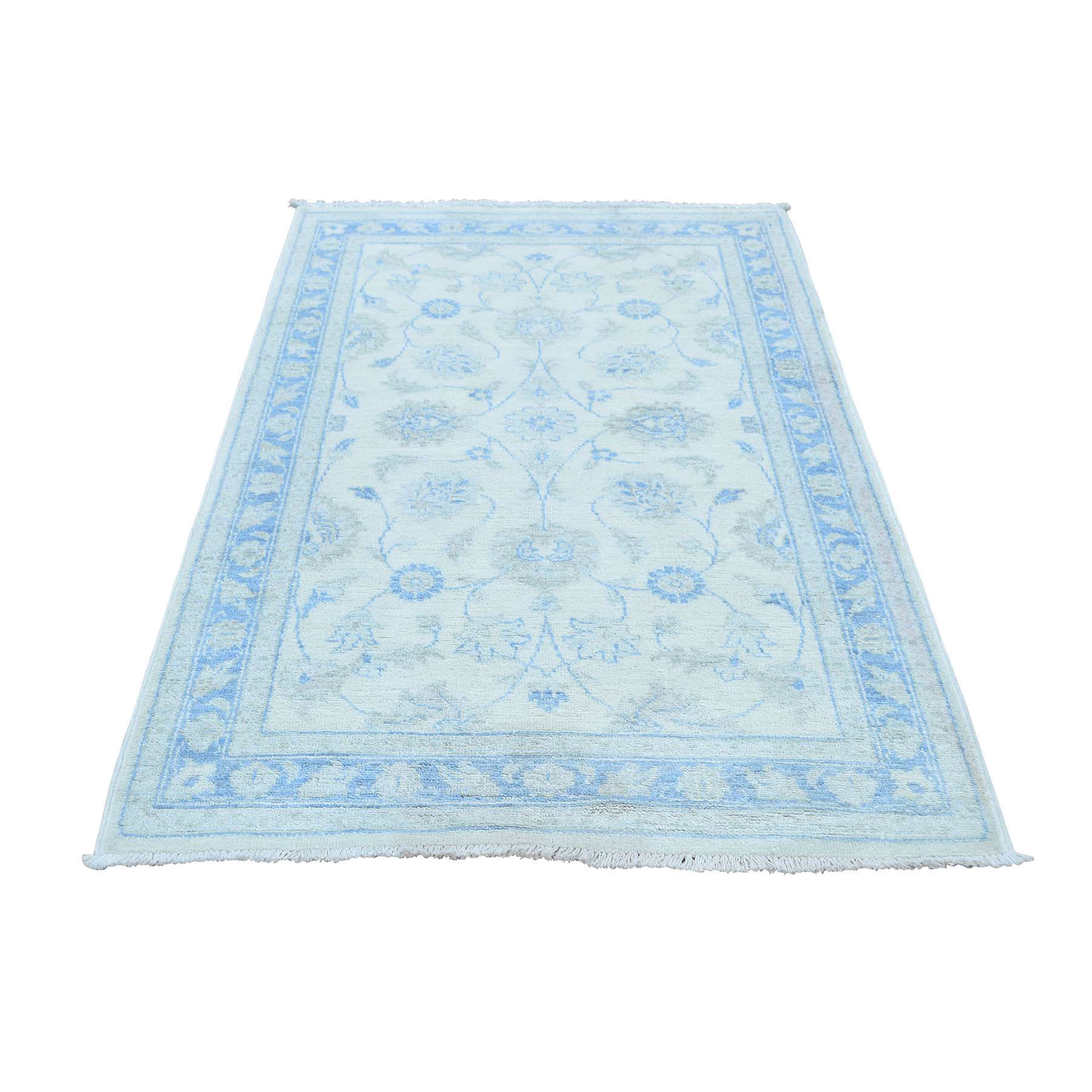 "3'2""X5'3"" On Clearance 100 Percent Wool Hand-Knotted White Wash Peshawar Oriental Rug moaccba8"