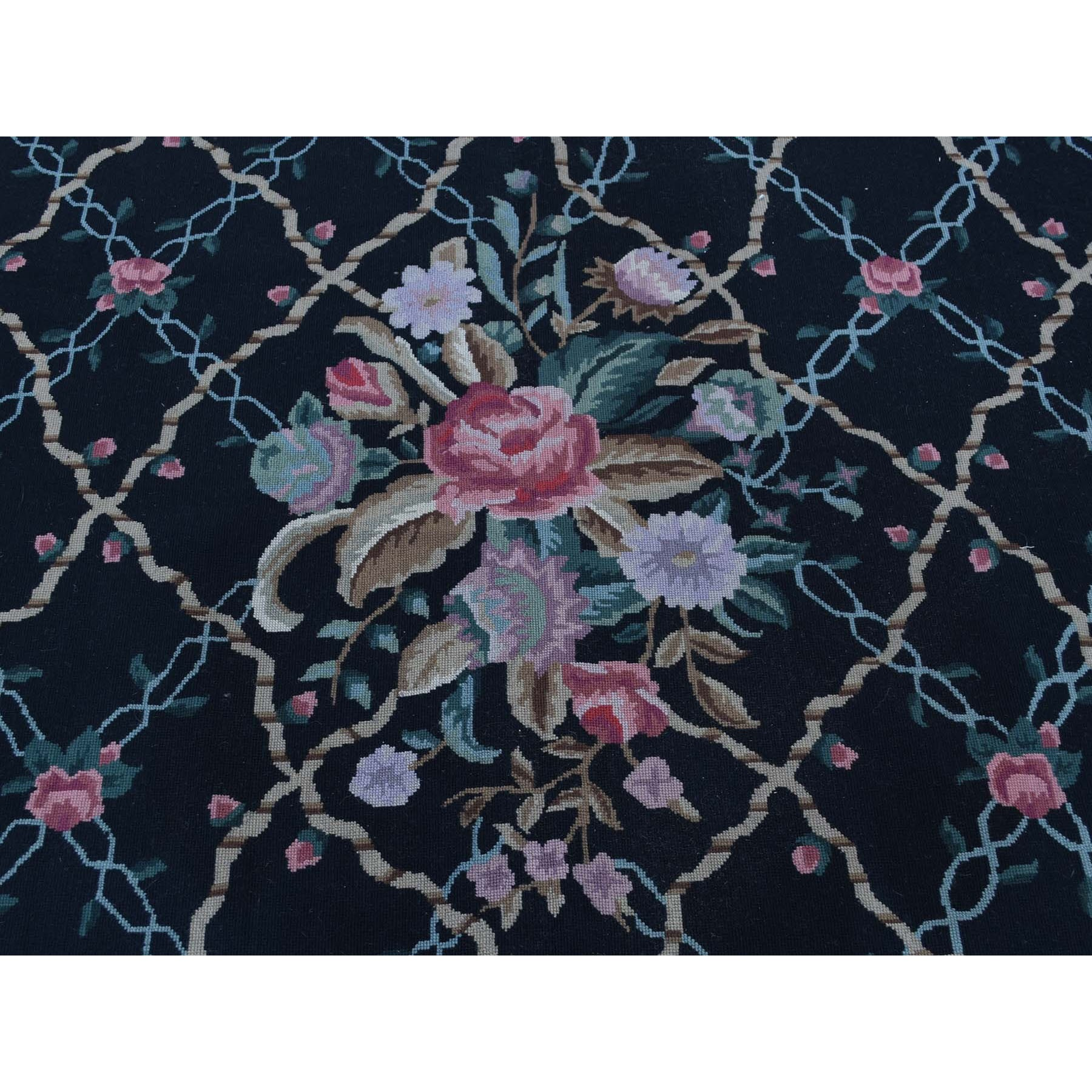 """9'x11'10"""" On Clearance Needlepoint Hand-Stitched Botanical Design Pure Wool Rug"""