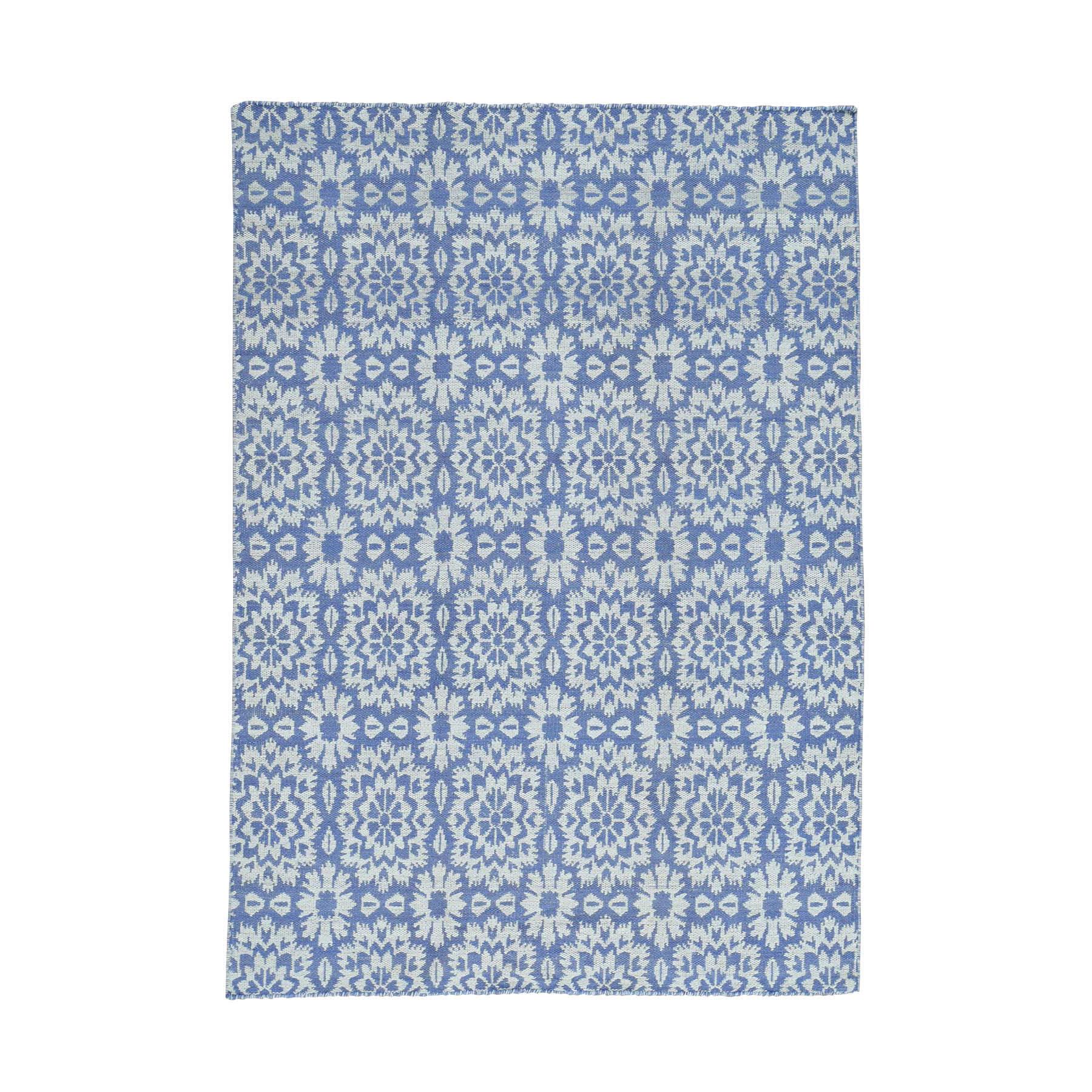 "5'1""X7'4"" Reversible Kilim Flat Weave Hand-Woven Pure Wool Oriental Rug moaccb9b"