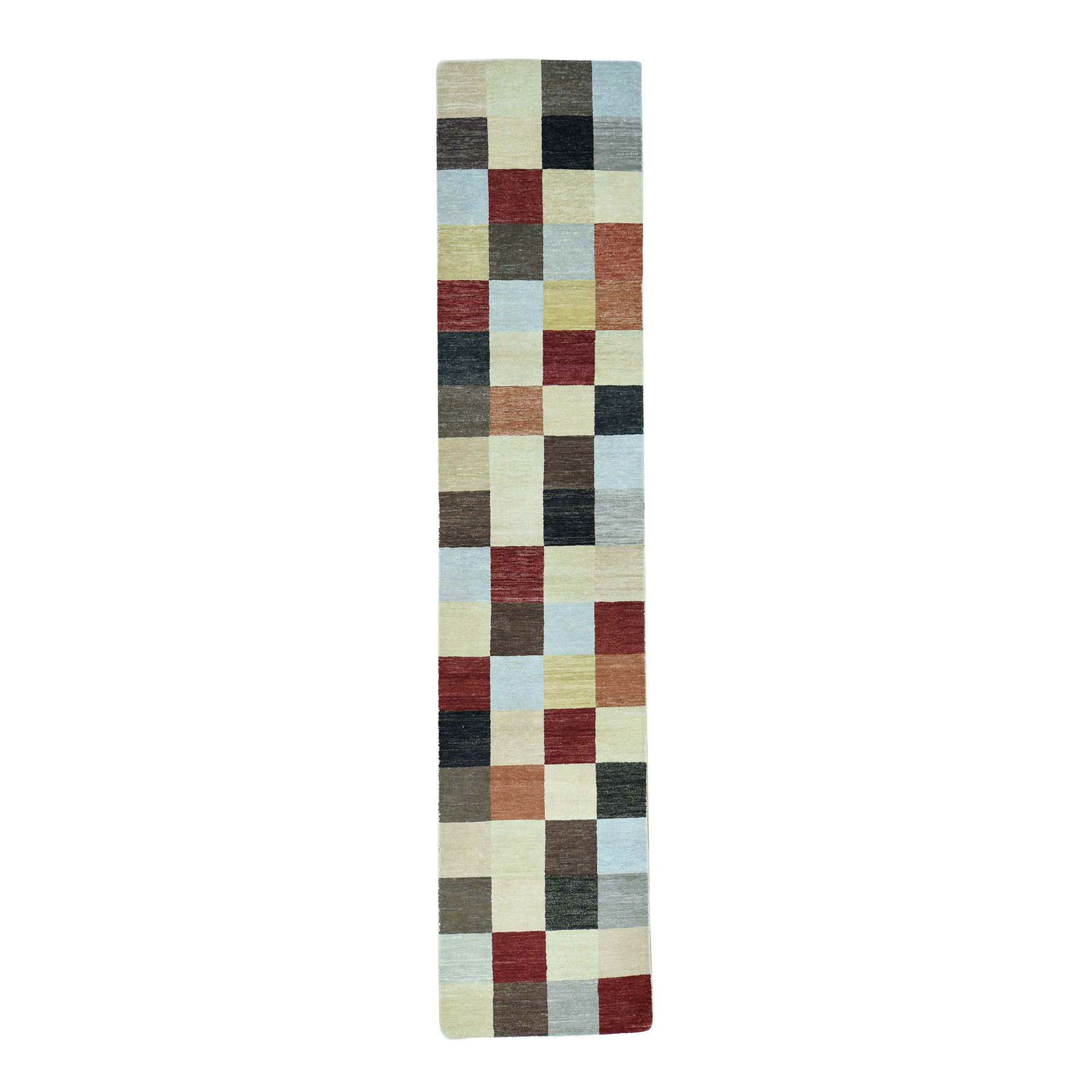 "2'6""X11'7"" Modern Gabbeh Checked Design Hand-Knotted Oriental Runner Rug moaccec0"