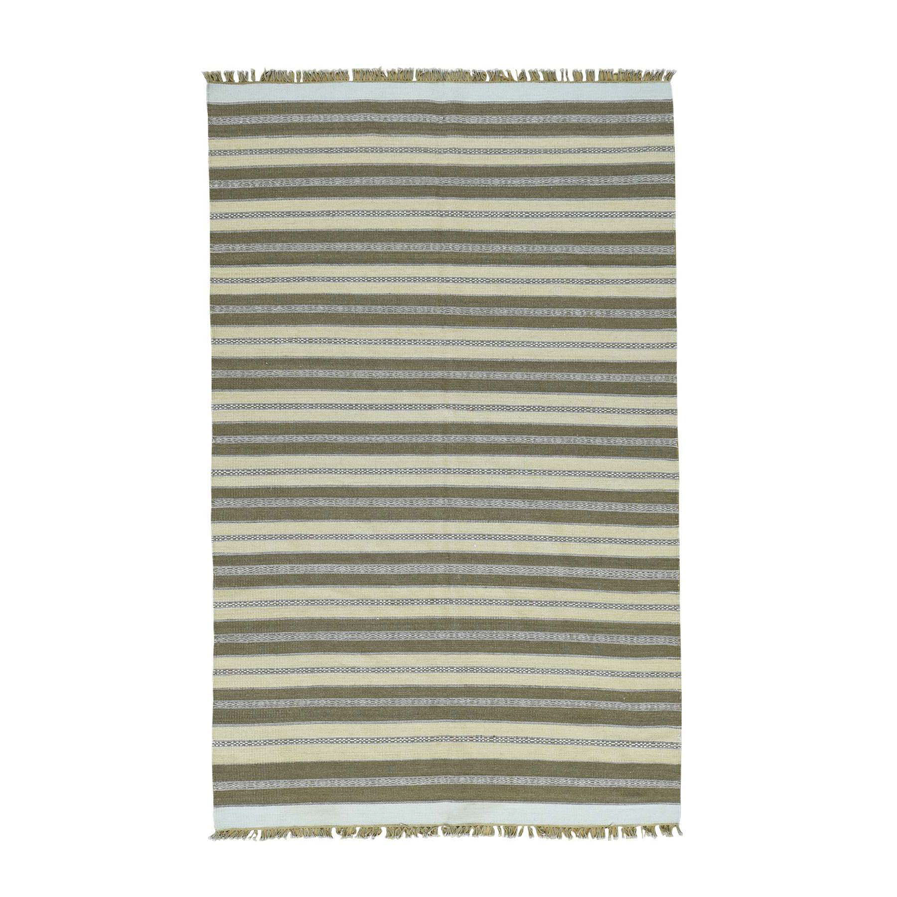 "5'X8'1"" Hand-Woven Striped Flat Weave Kilim Pure Wool Oriental Rug moacce60"