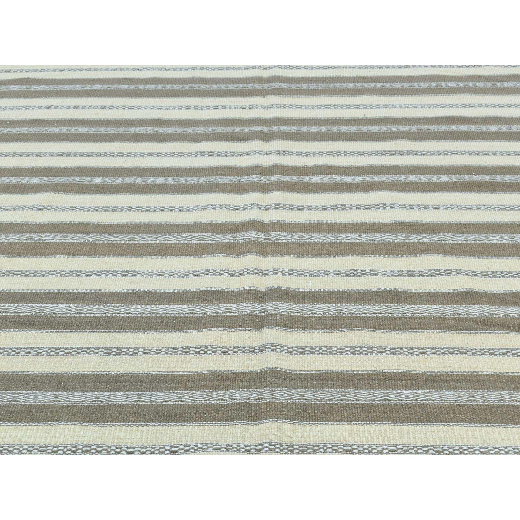 5-x8-1  Hand-Woven Striped Flat Weave Kilim Pure Wool Oriental Rug