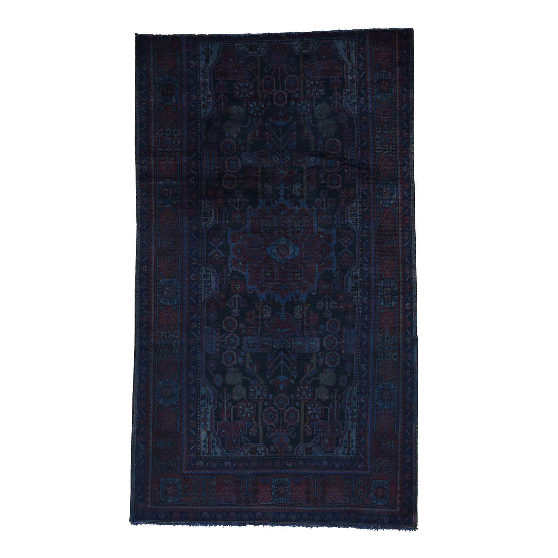 "5'2""X9'2"" On Clearance Handmade Overdyed Nahavand Worn Oriental Wide Runner Rug moacc6cc"